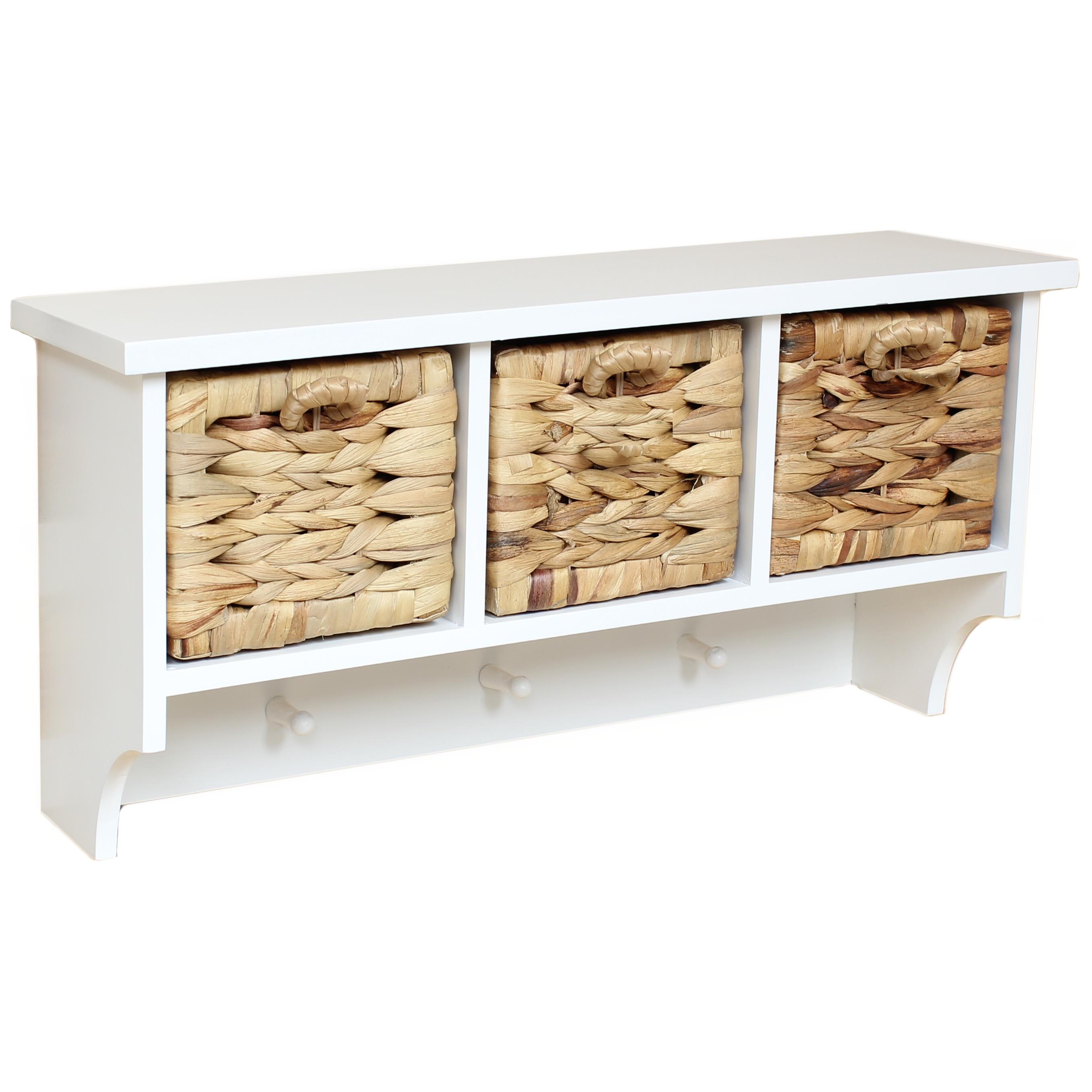 hartleys white hallway wall 3 coat hook rack shelf 3 seagrass storage baskets ebay. Black Bedroom Furniture Sets. Home Design Ideas