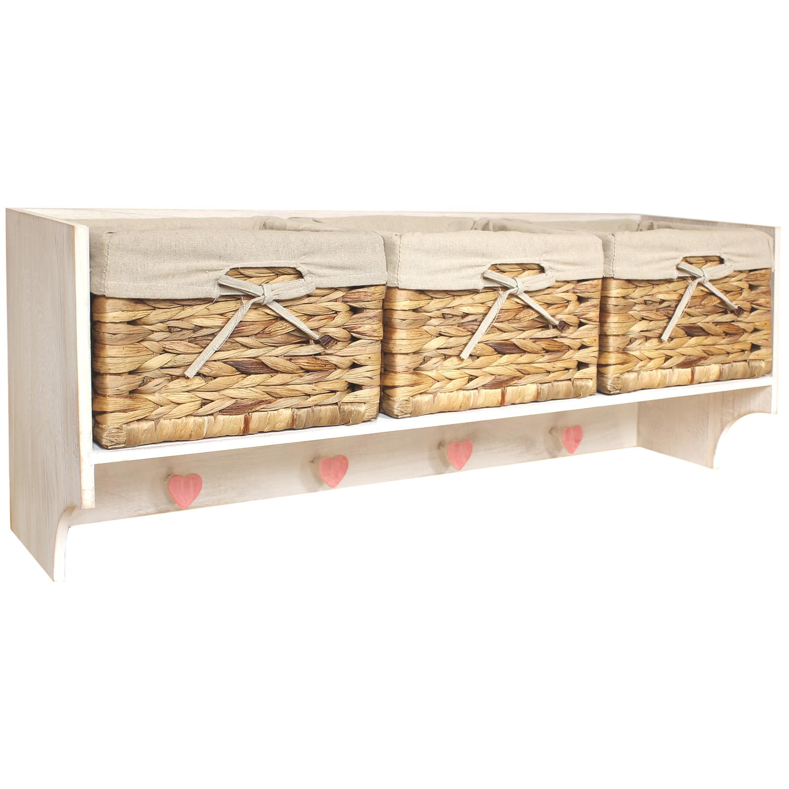 Hartleys Large Hallway Coat Hook Rack 3 Storage Baskets