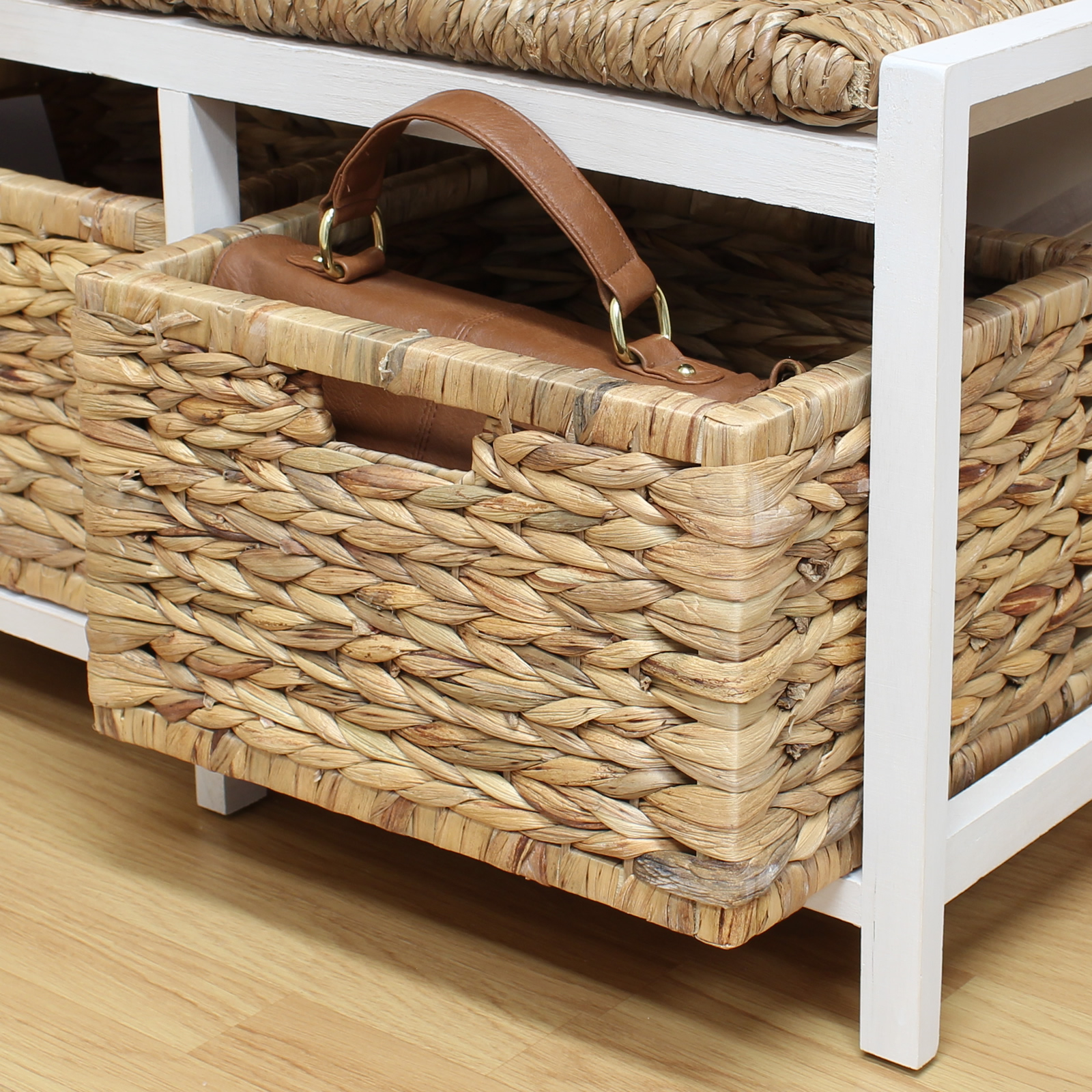 Hartleys Farmhouse Bench Seat & Storage Baskets Hallway Bathroom Wicker Cushion
