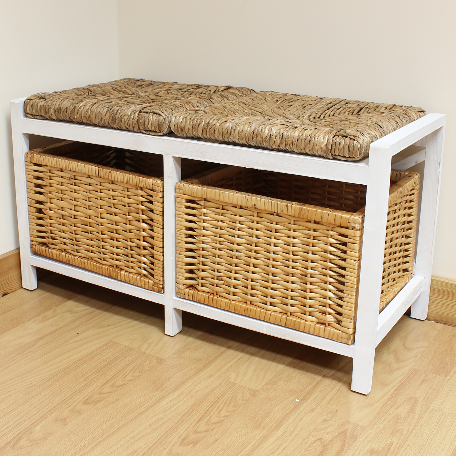 Hartleys Farmhouse Wicker Cushion Bench Seat Storage Baskets Hallway Bathroom Ebay