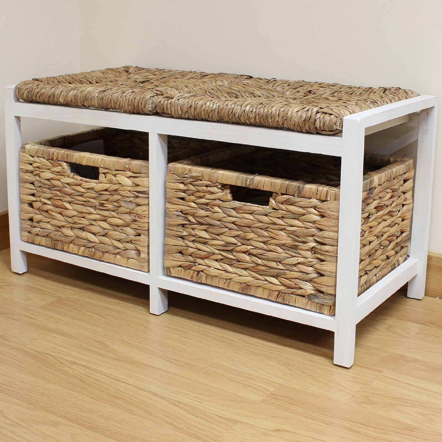 Hartleys farmhouse bench seat storage baskets hallway bathroom wicker cushion ebay Bench with baskets