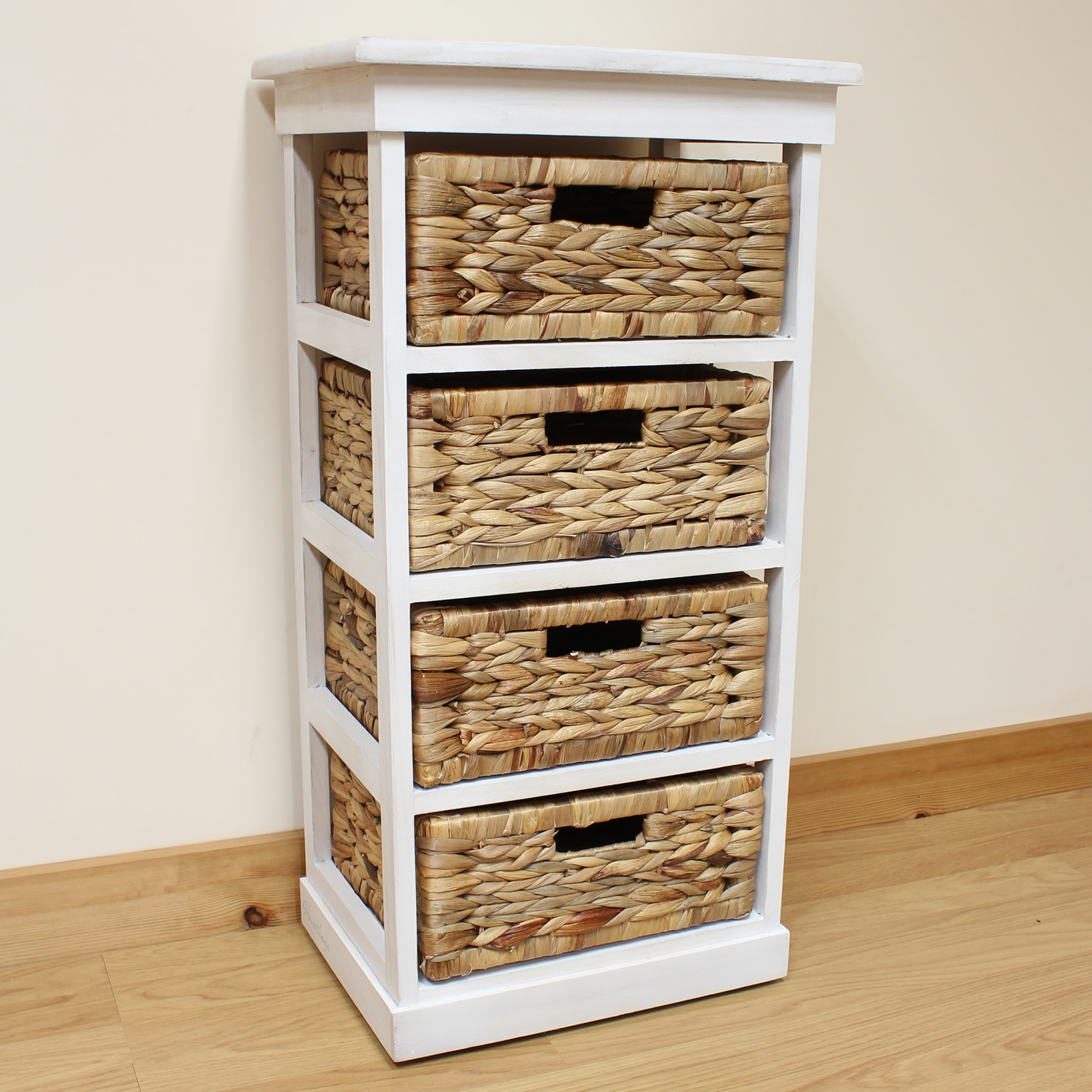 Hartleys Large White 4 Basket Chest Home Storage Unit Bathroom Wicker Drawers