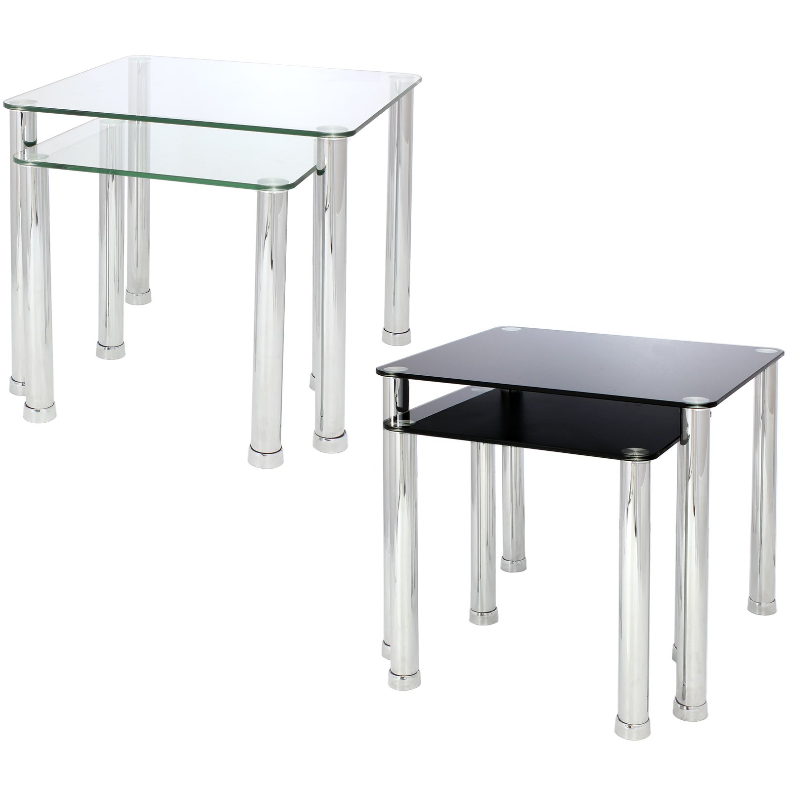 Nest of 2 glass chrome tables home lounge living room set - Glass side tables for living room uk ...