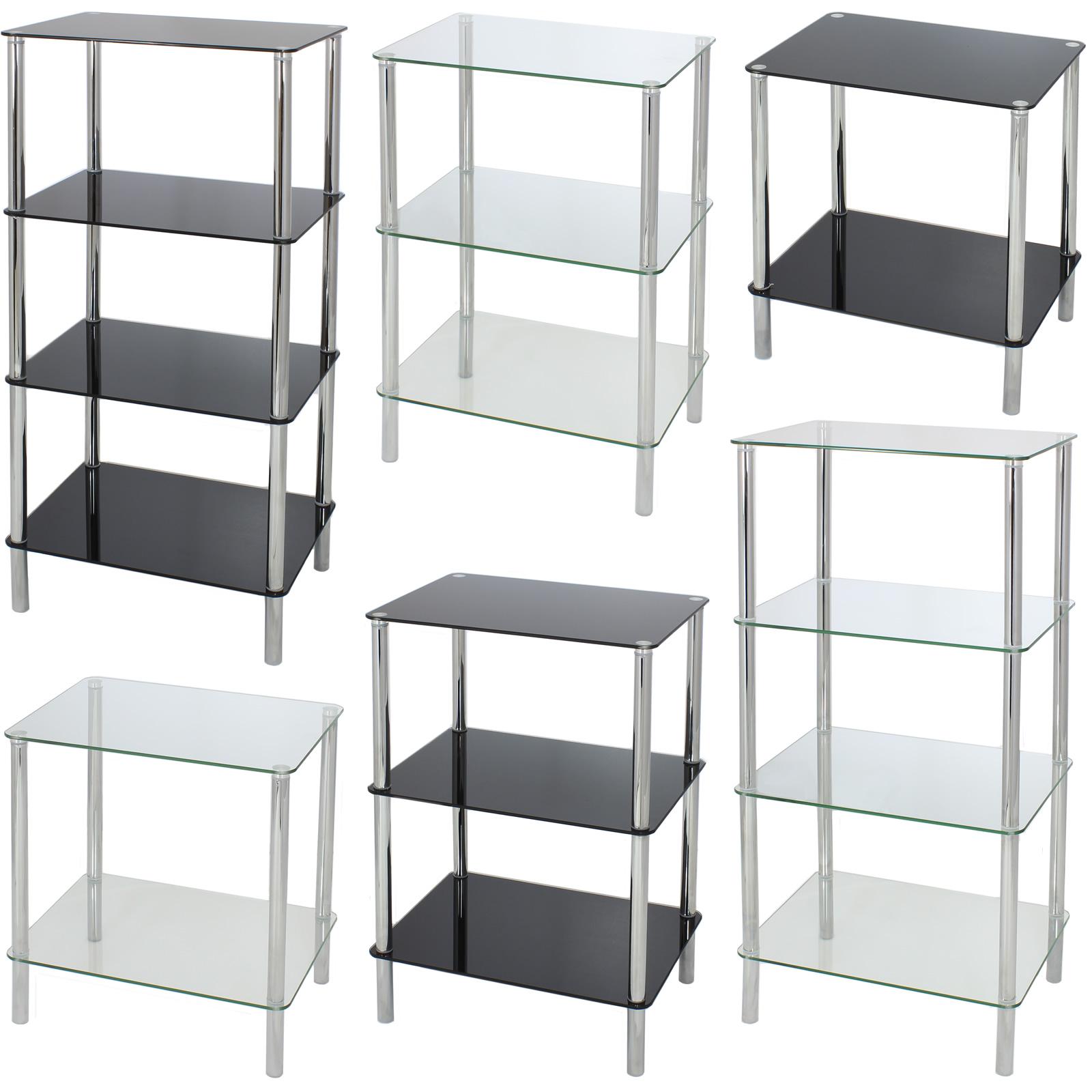 Side End Bedside Lamp Table Shelf Unit Home Lounge Bedroom Tempered Safety Glass