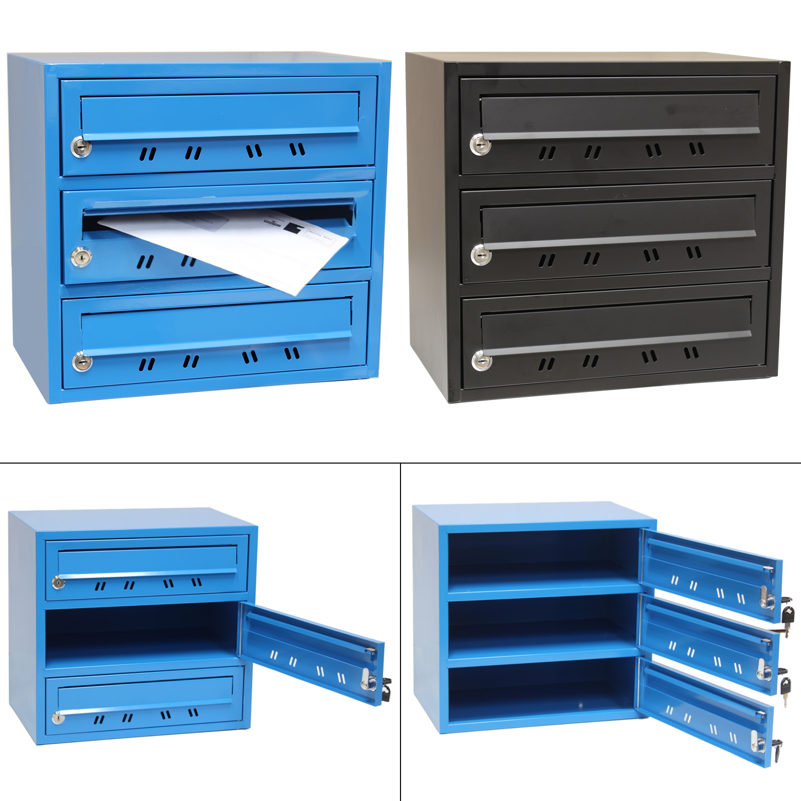 3 slot home office locking mail post box pigeon hole letterb