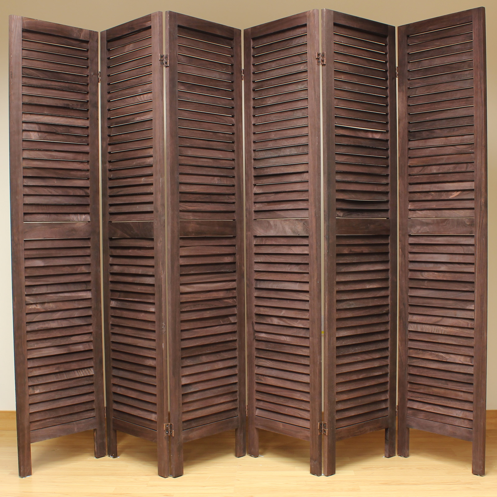 Wood Screens Room Dividers ~ Brown panel wooden slat room divider home privacy screen