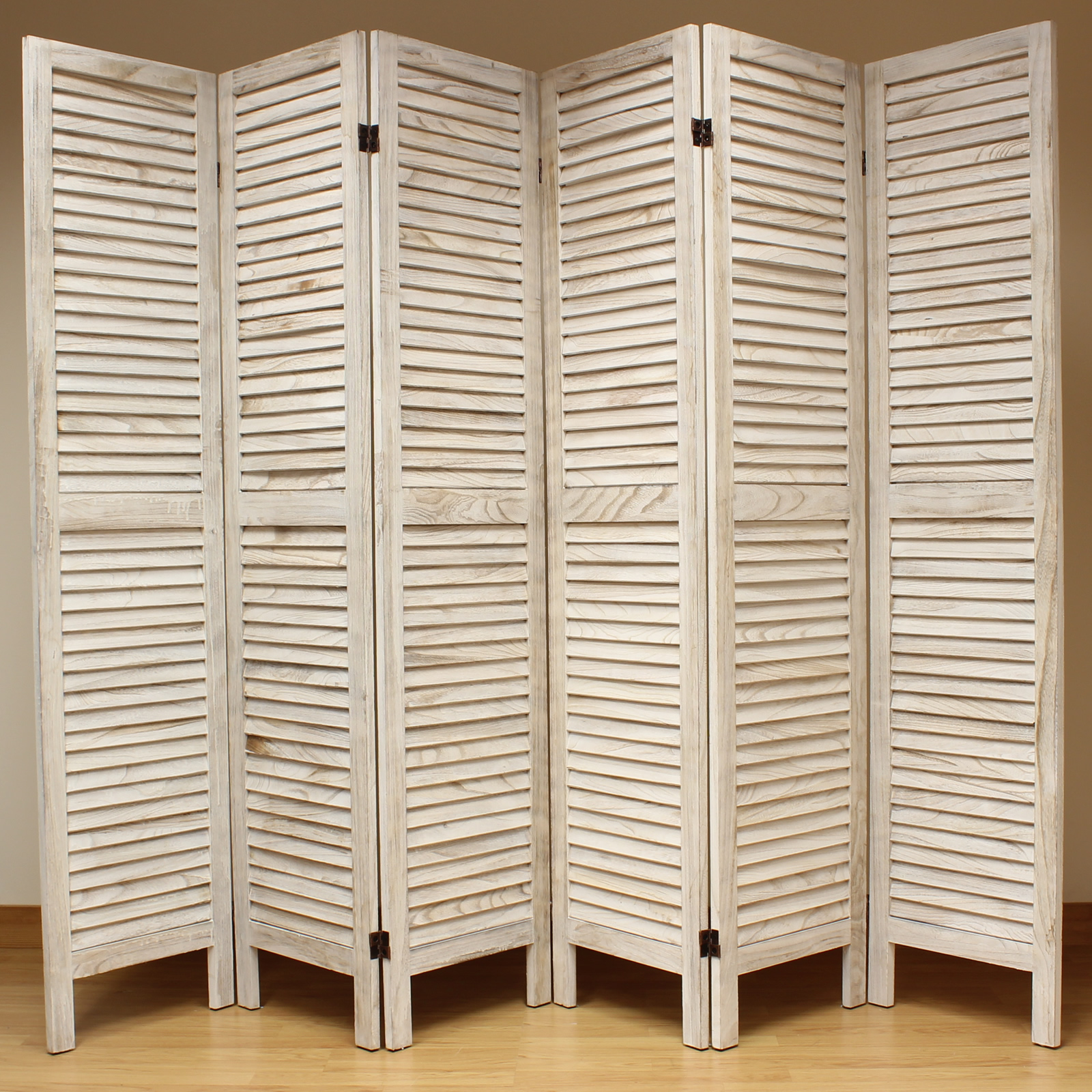 Cream 6 Panel Wooden Slat Room Divider Home Privacy Screen Separator Partitio