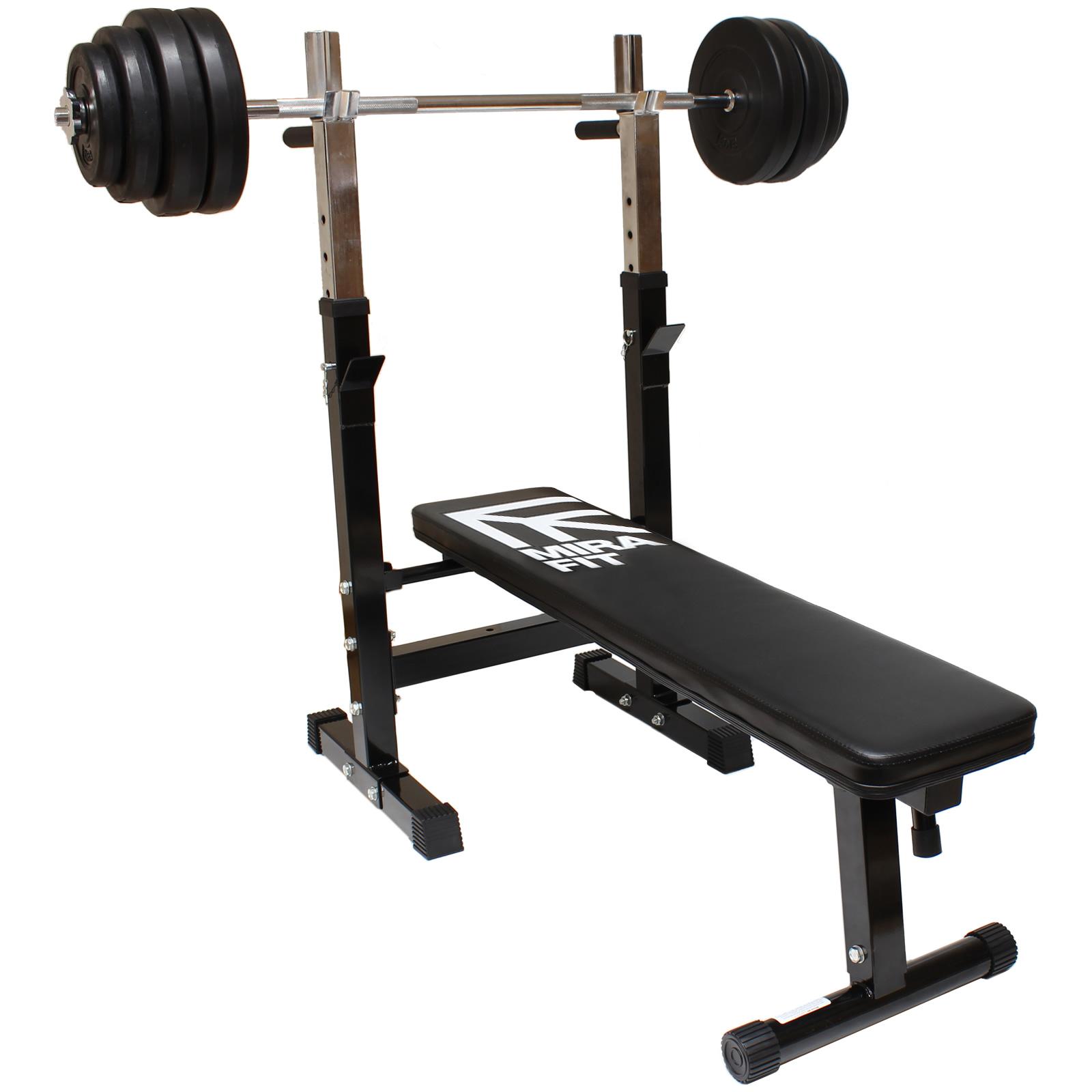 MIRAFIT Adjustable/Folding Flat Weight Bench & Dip Station