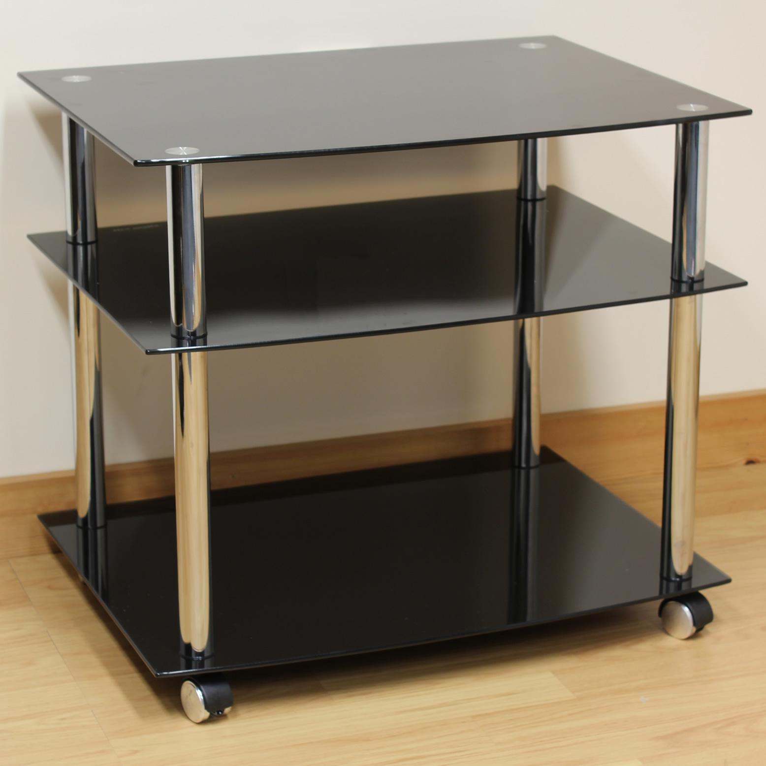 Hartleys Chrome Amp Black Glass 3 Shelf TV Stand Trolley