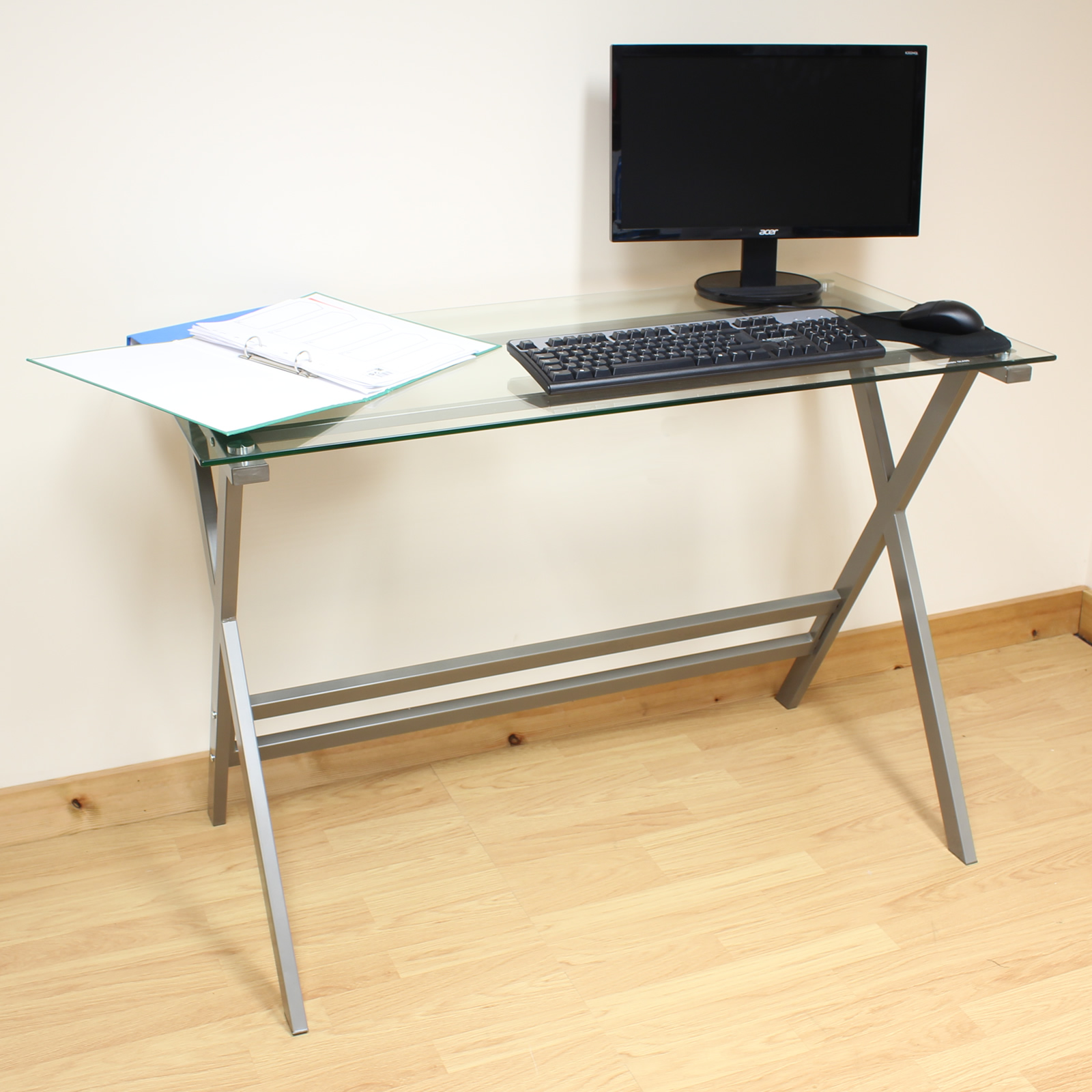 hartleys home office study 110cm silver glass top computer pc laptop desk table ebay. Black Bedroom Furniture Sets. Home Design Ideas