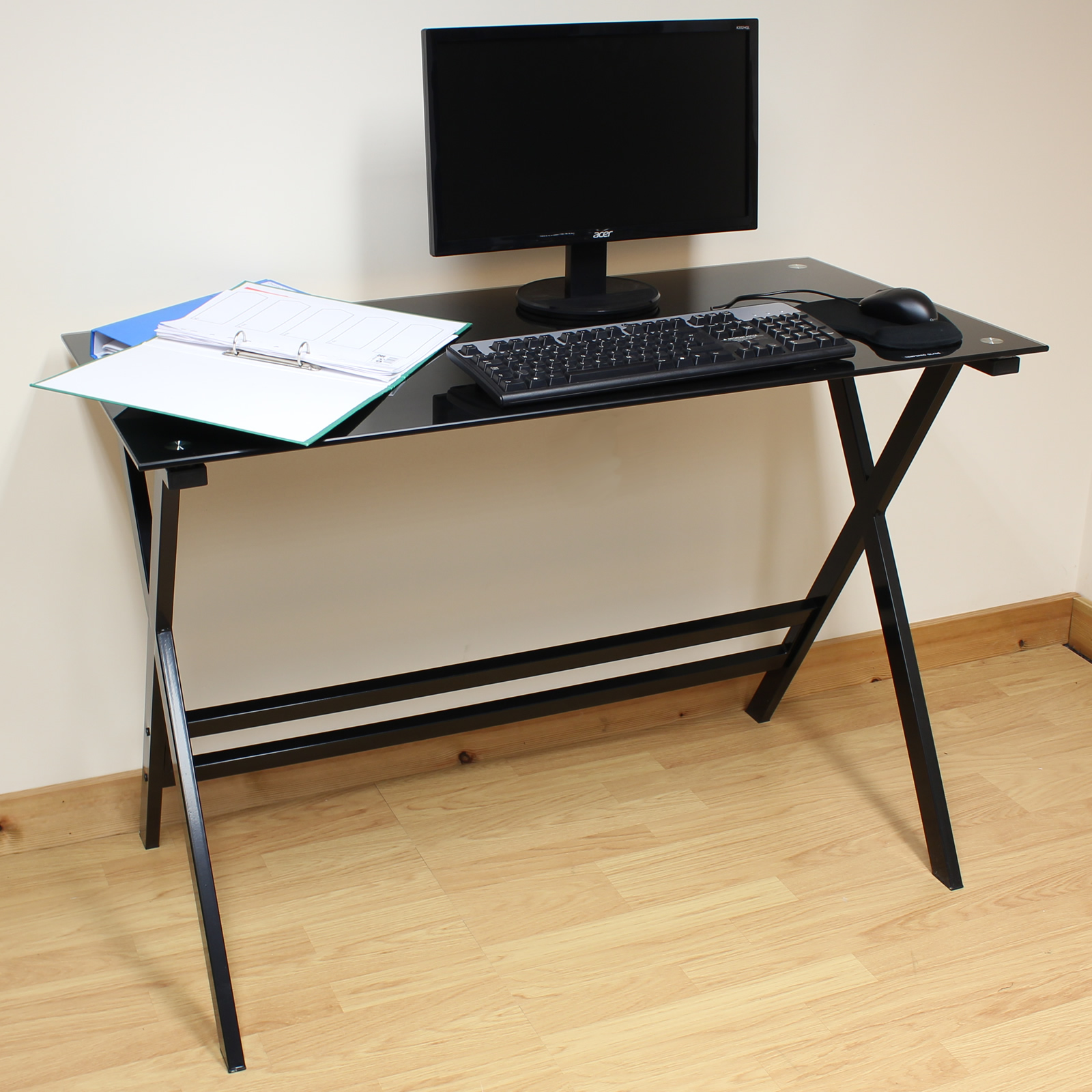 hartleys home office study 110cm black glass top computer pc laptop desk table ebay. Black Bedroom Furniture Sets. Home Design Ideas