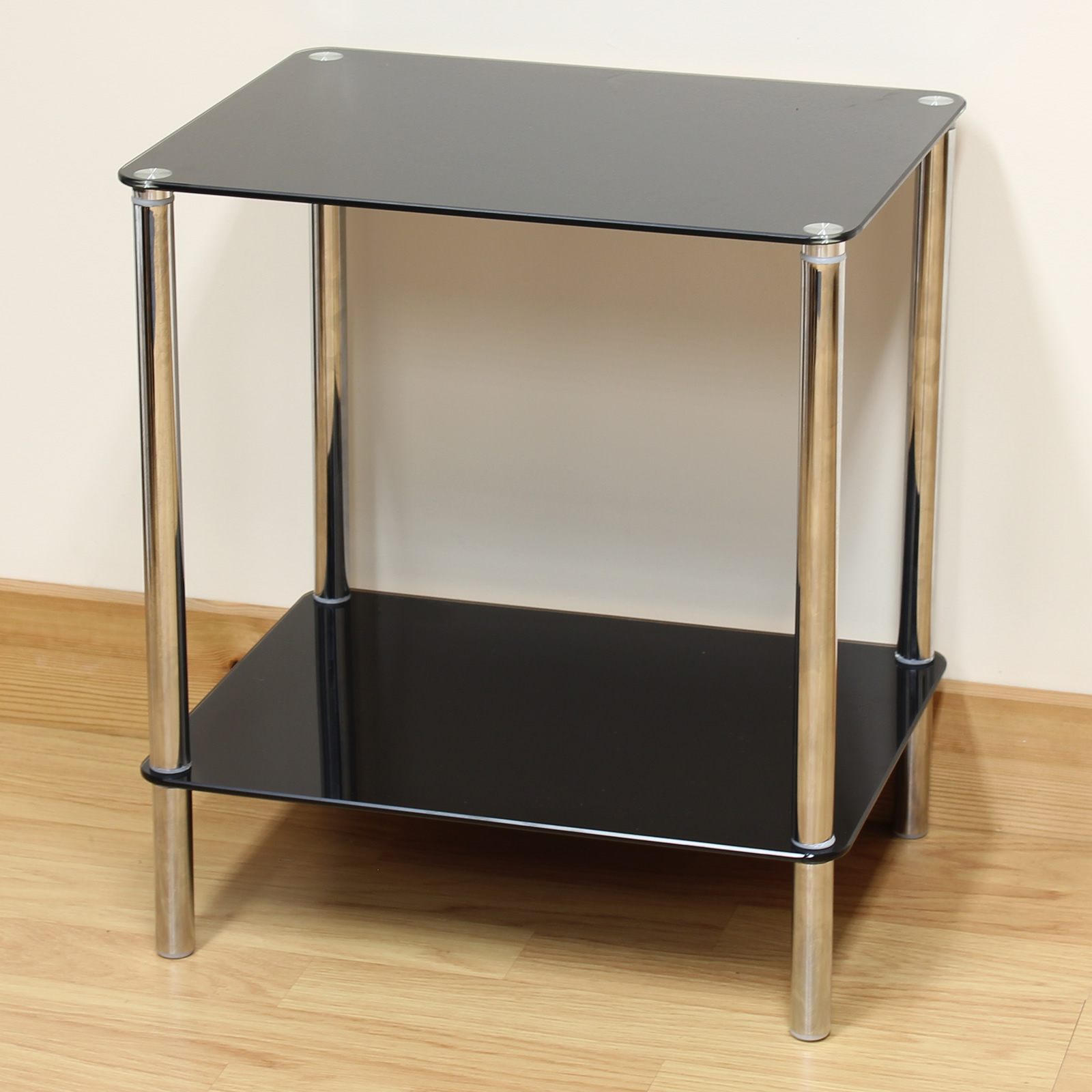 Hartleys black glass 2 tier side lamp coffee lounge living room table shelf Black glass side tables for living room