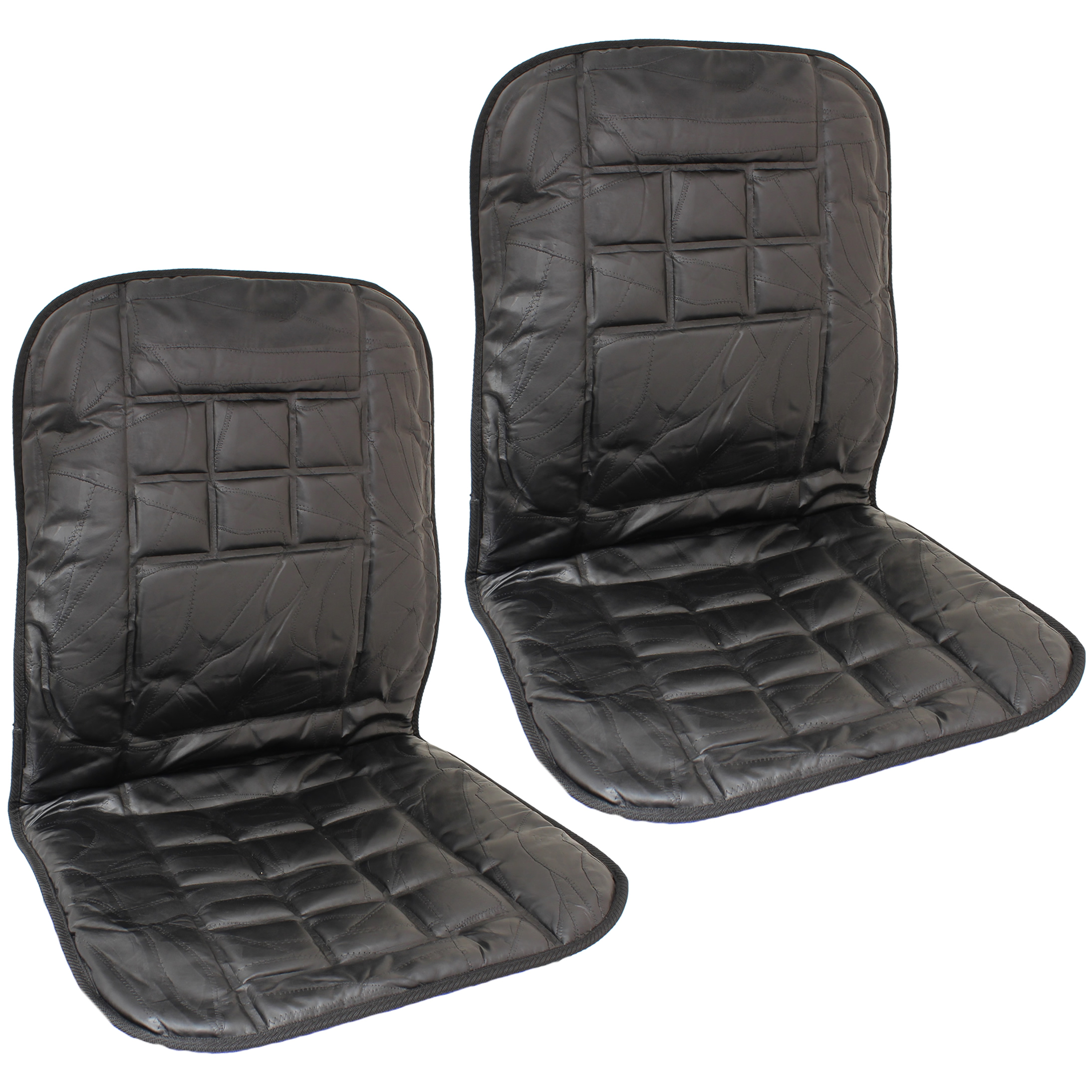 2x leather car taxi van front seat cushion orthopaedic back support massage pair ebay. Black Bedroom Furniture Sets. Home Design Ideas