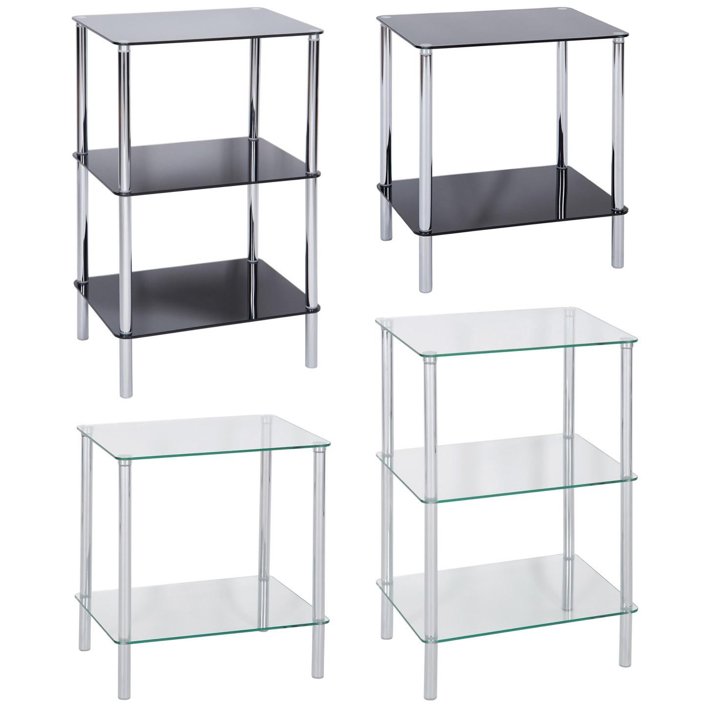 Side End Bedside Lamp Table Shelf Unit Home Lounge Bedroom Tempered Safety Glass Ebay