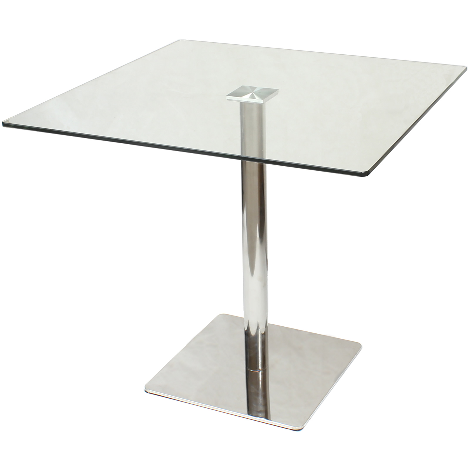 Large square clear glass dining bistro table bar cafe for Square glass dining table