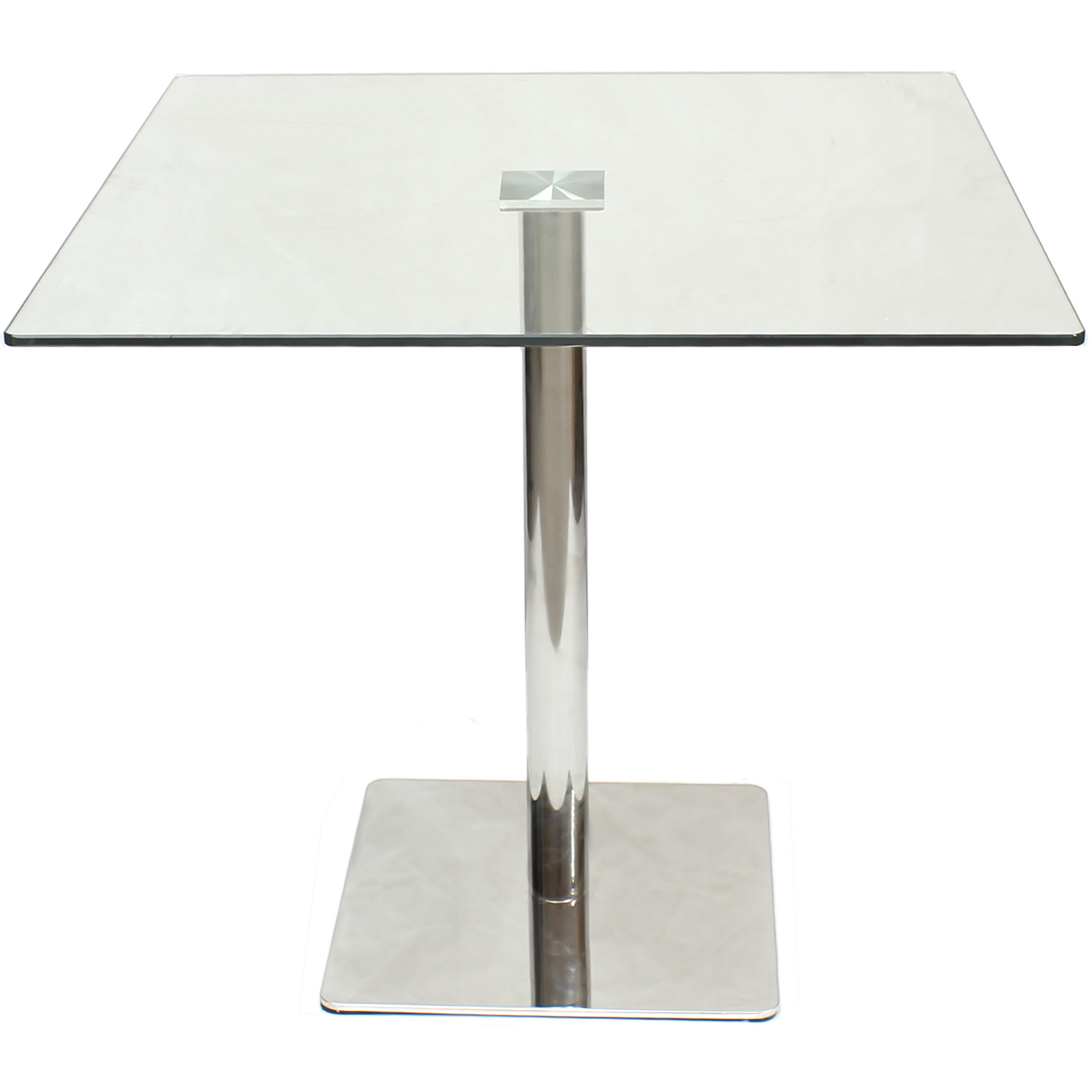 large square clear glass dining  bistro table bar  cafe style  breakfast  kitchen