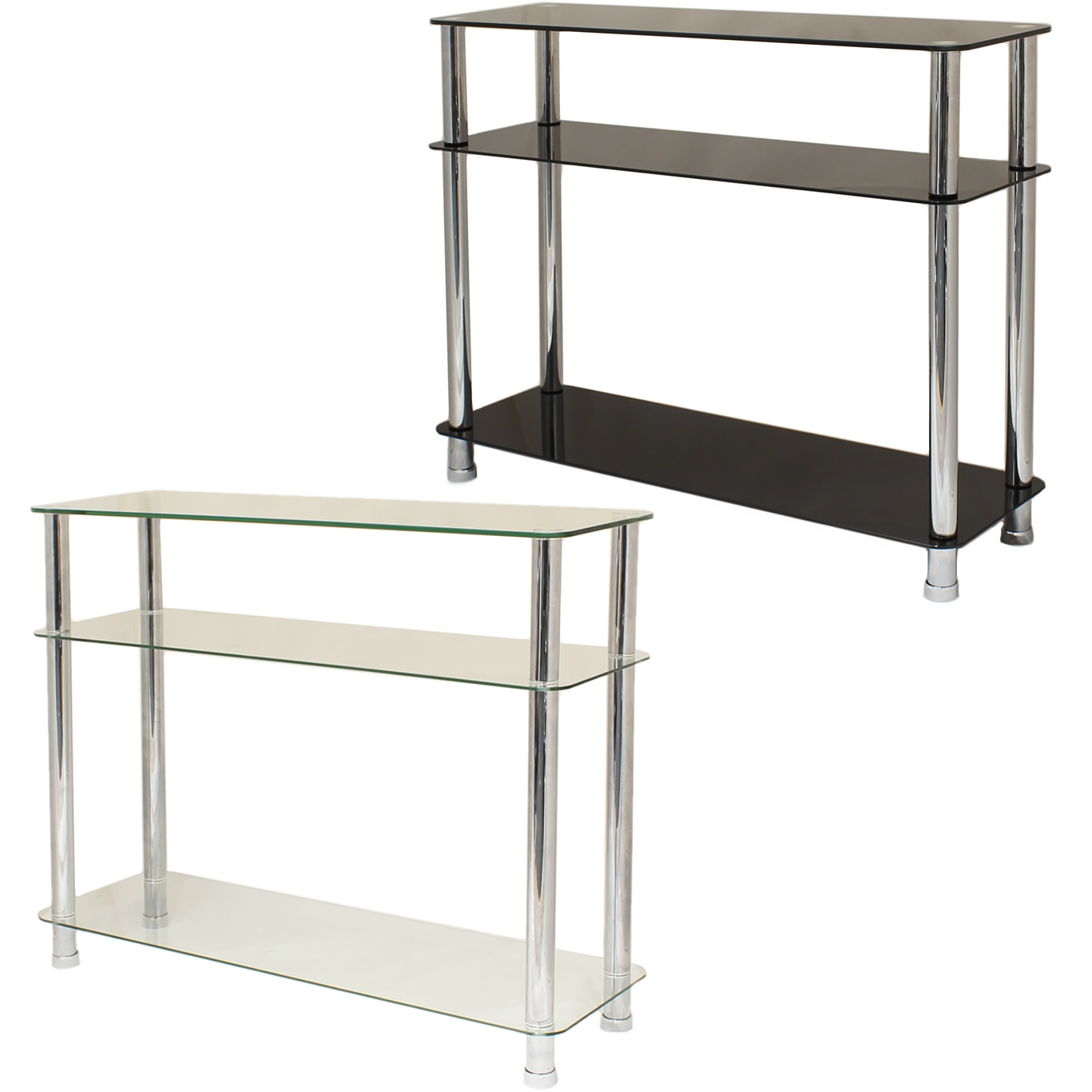 GLASS 3 TIER SIDE/CONSOLE TABLE SHELF UNIT BEDROOM/LOUNGE