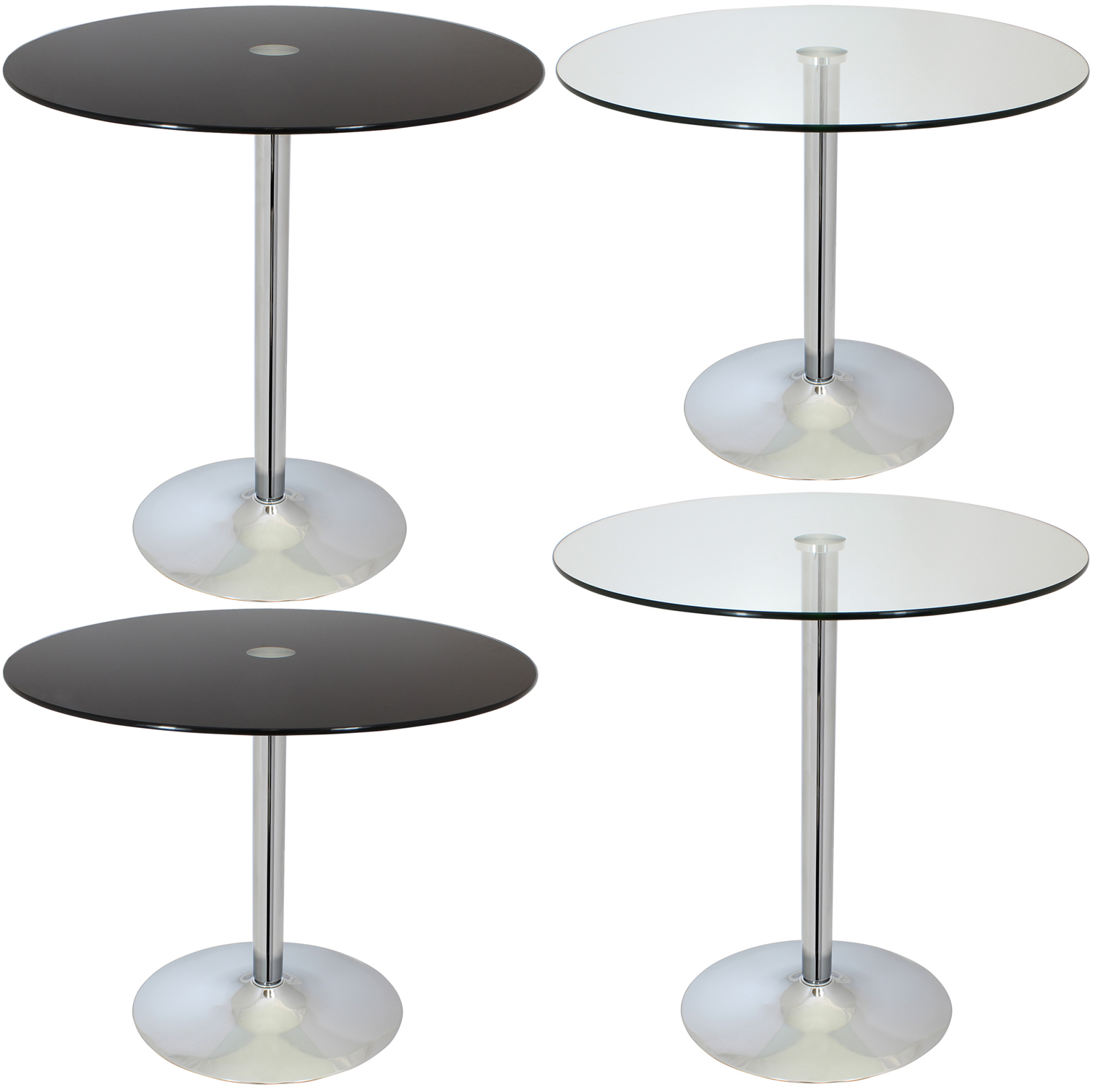 Large circular glass top bistro dining table bar cafe for Large glass table top