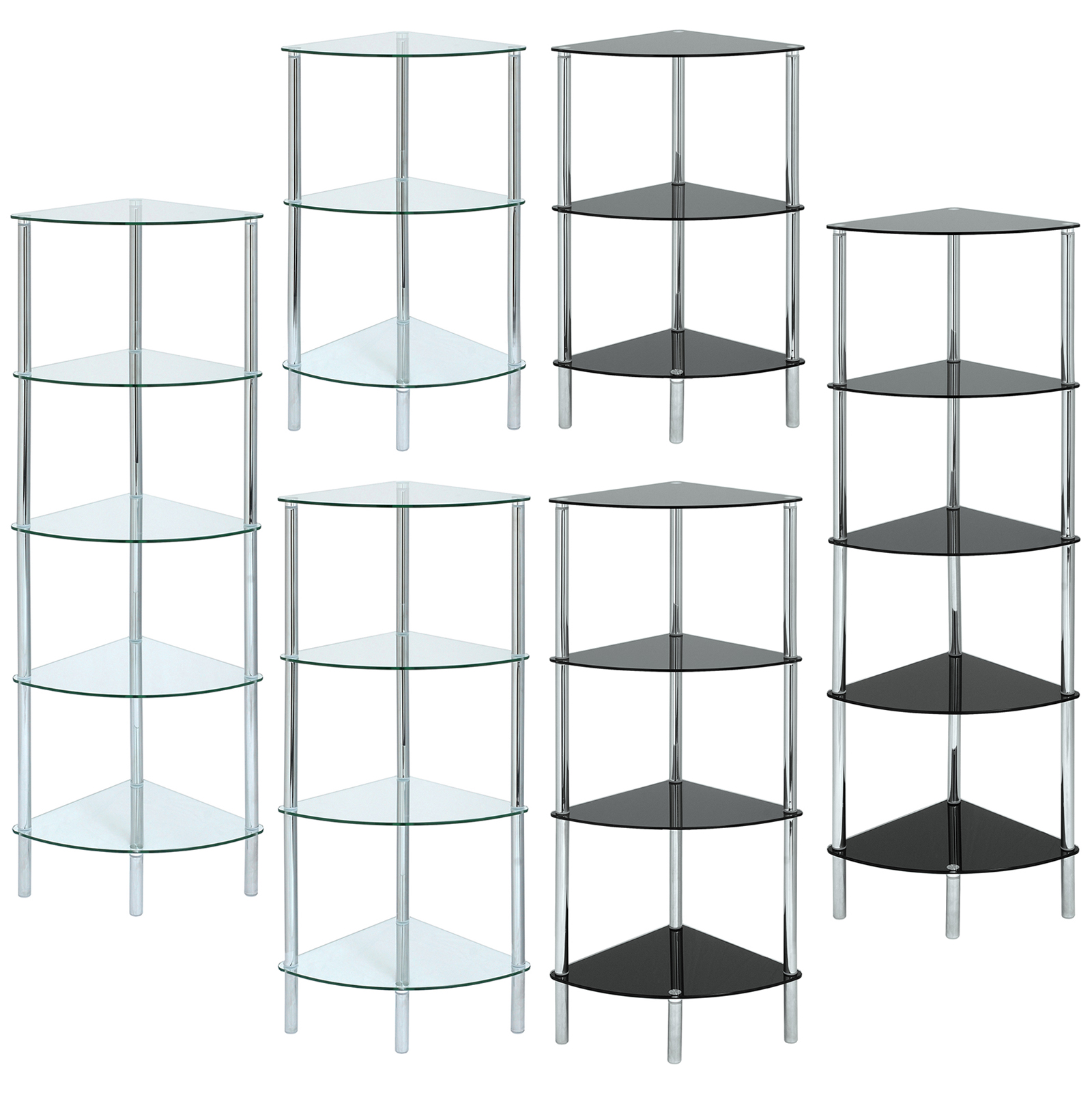 Glass Corner Shelf Unit Display Bathroom Hall End Lamp Coffee Table Home Storage Ebay