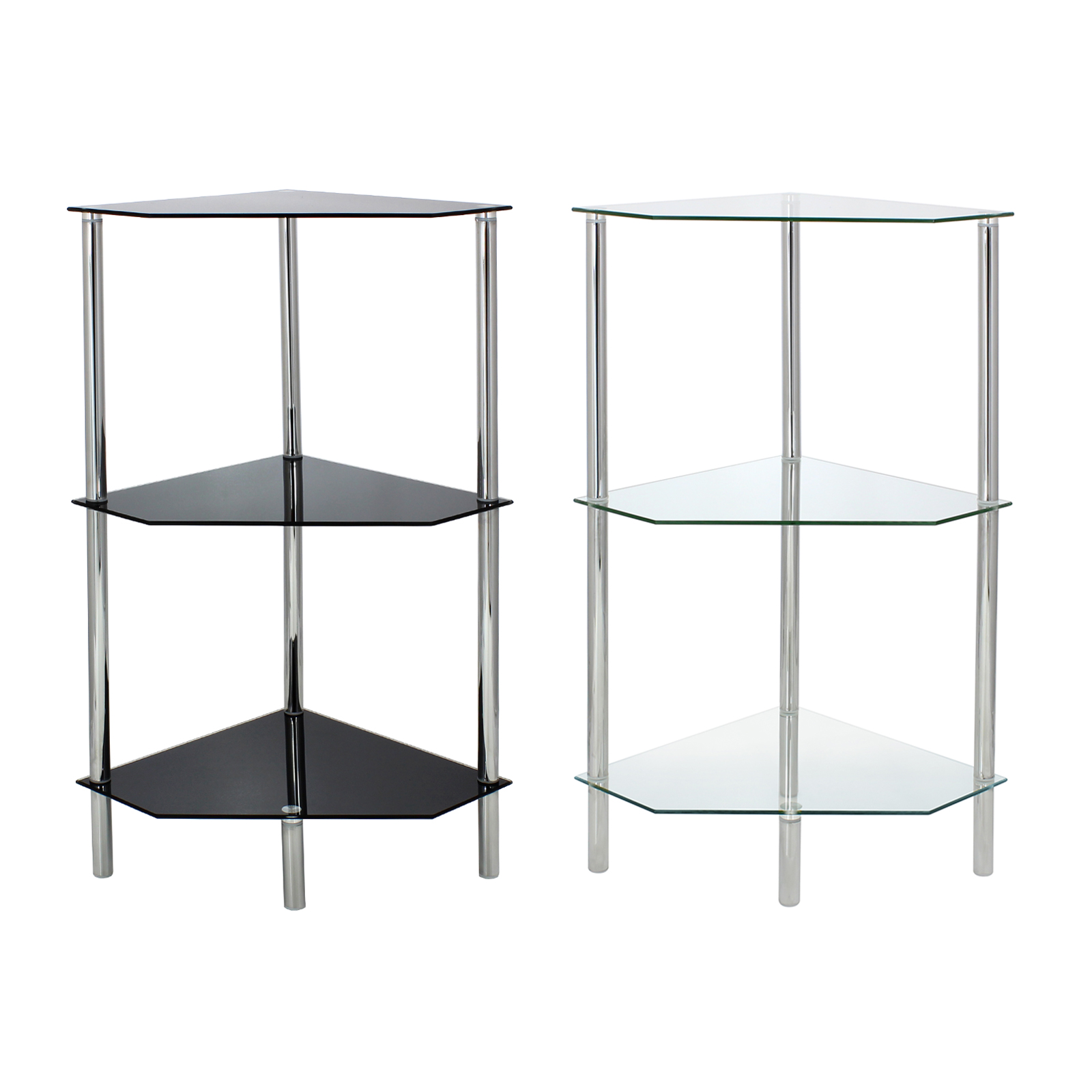 Glass corner shelf shelving unit display bathroom hall end - Bathroom glass corner shelves shower ...