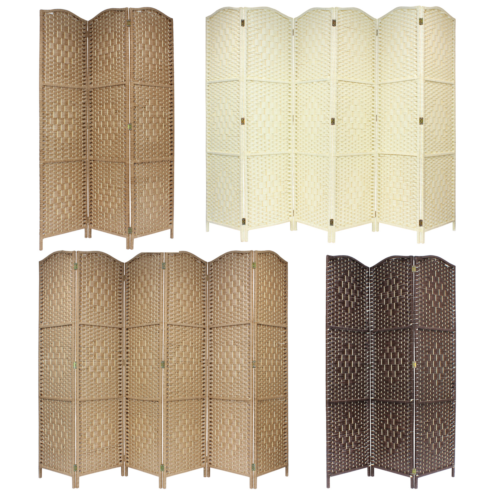 solid weave hand made wicker folding room divider screen panel