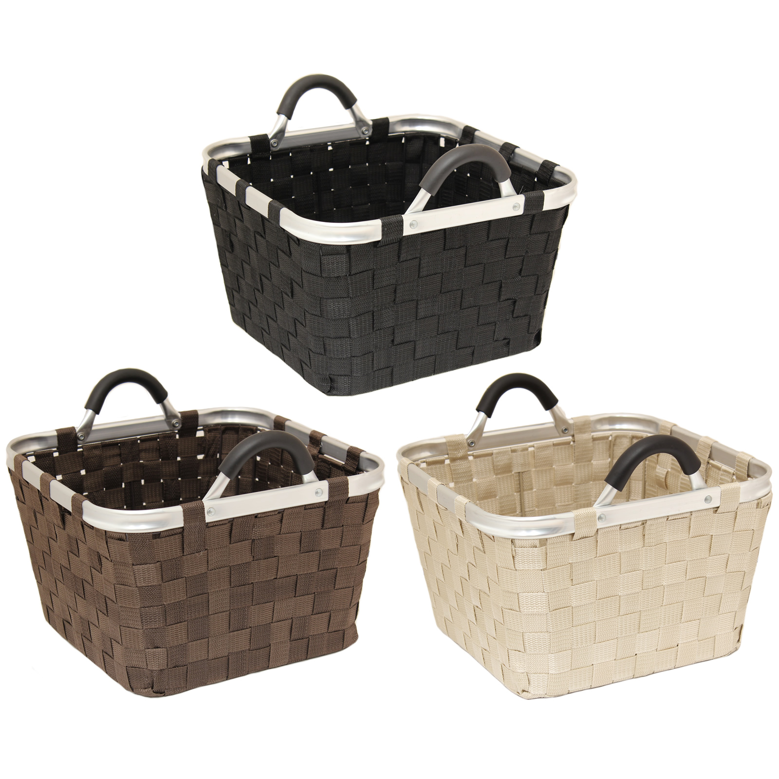 LARGE STRONG SQUARE WOVEN FABRIC STORAGE BASKET KITCHEN ...