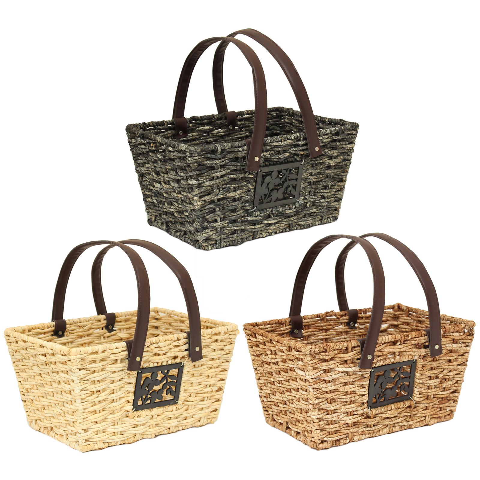 Woven Shopping Basket Uk : Large woven ping storage basket with handles kitchen