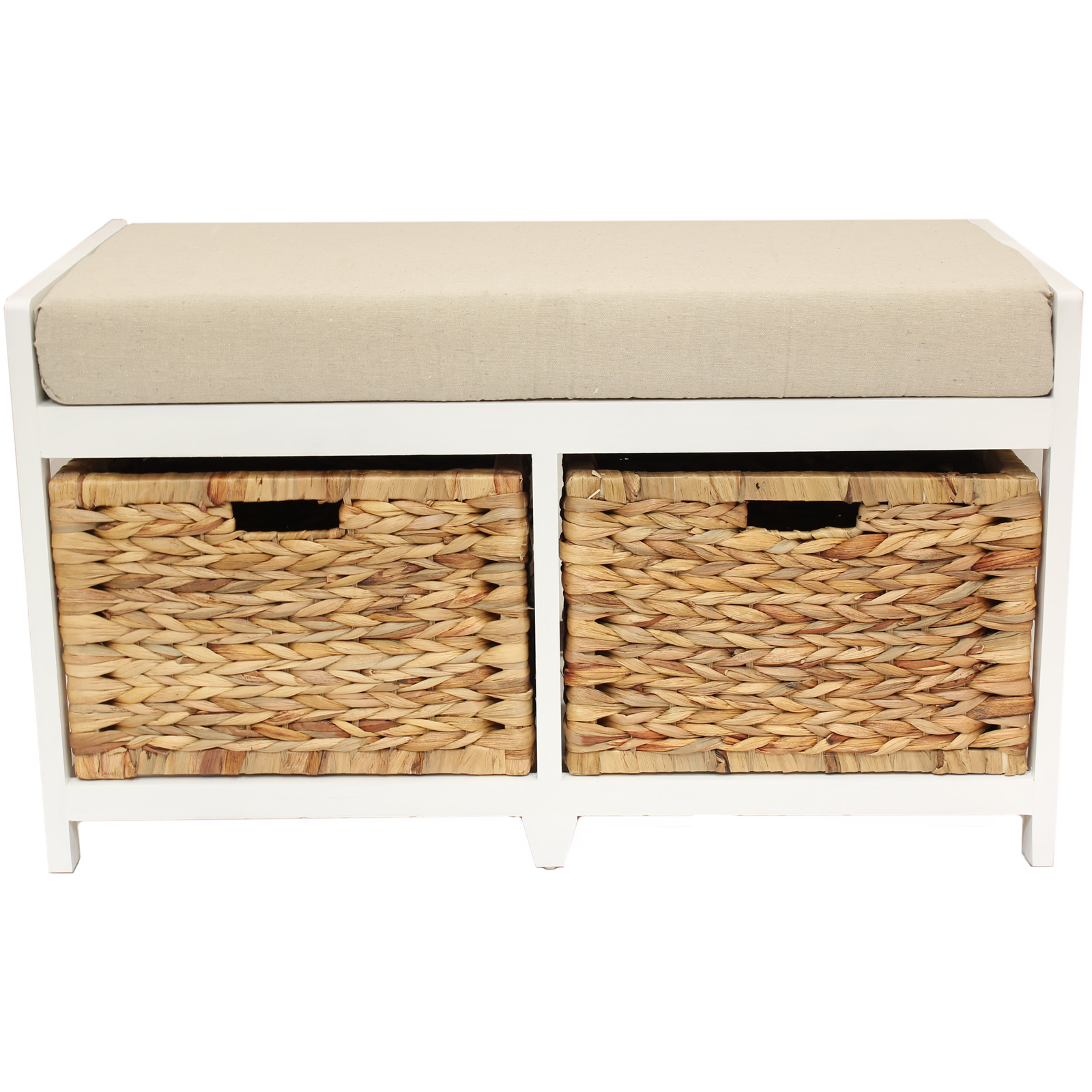 Home hallway bathroom bench seat with seagrass wicker storage baskets cushion ebay Storage bench with cushion