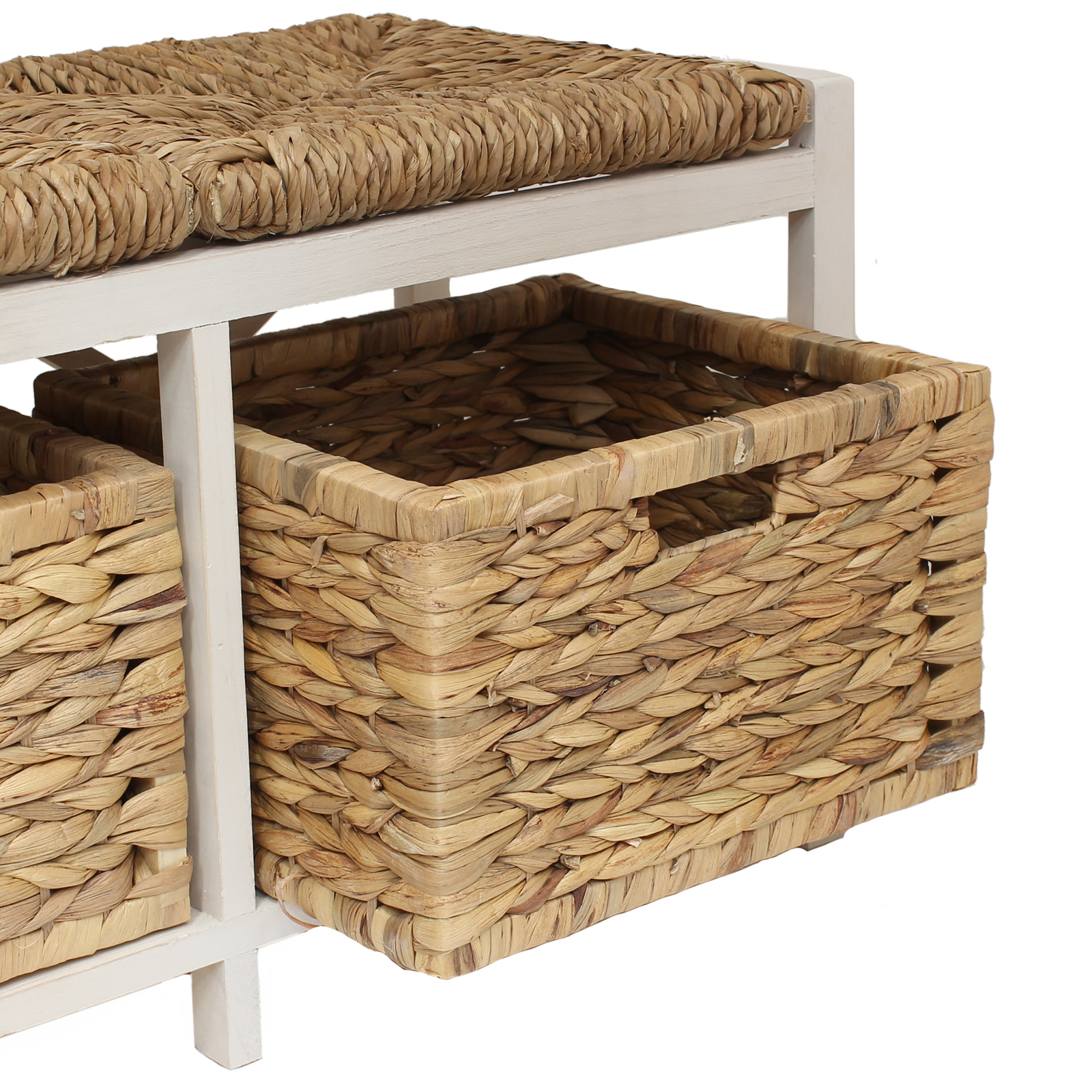 FARMHOUSE STYLE HALLWAY BATHROOM WICKER CUSHION BENCH SEAT & STORAGE BASKETS