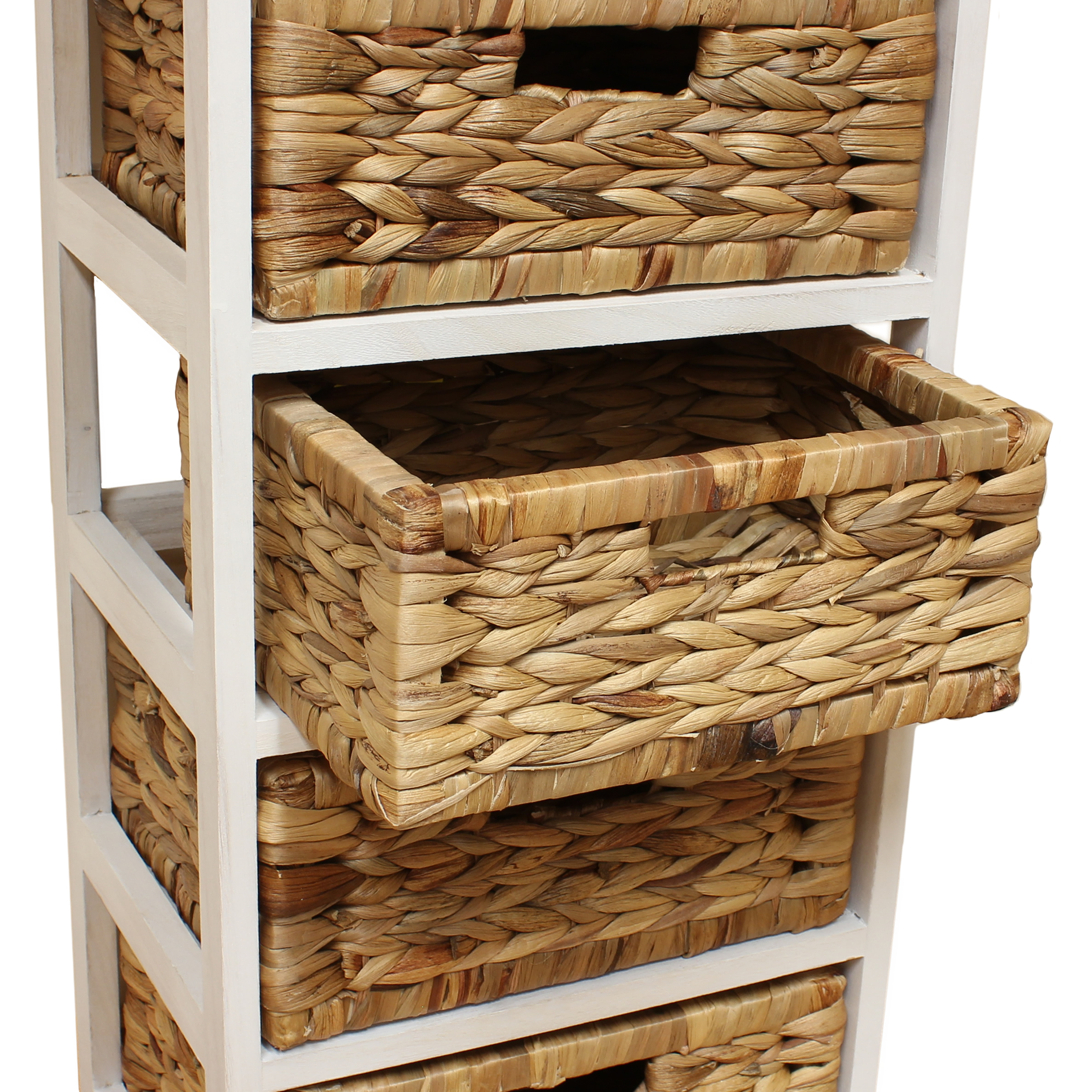 Basket Storage With Drawers Cabinets ~ White seagrass basket drawer chest storage cabinet unit