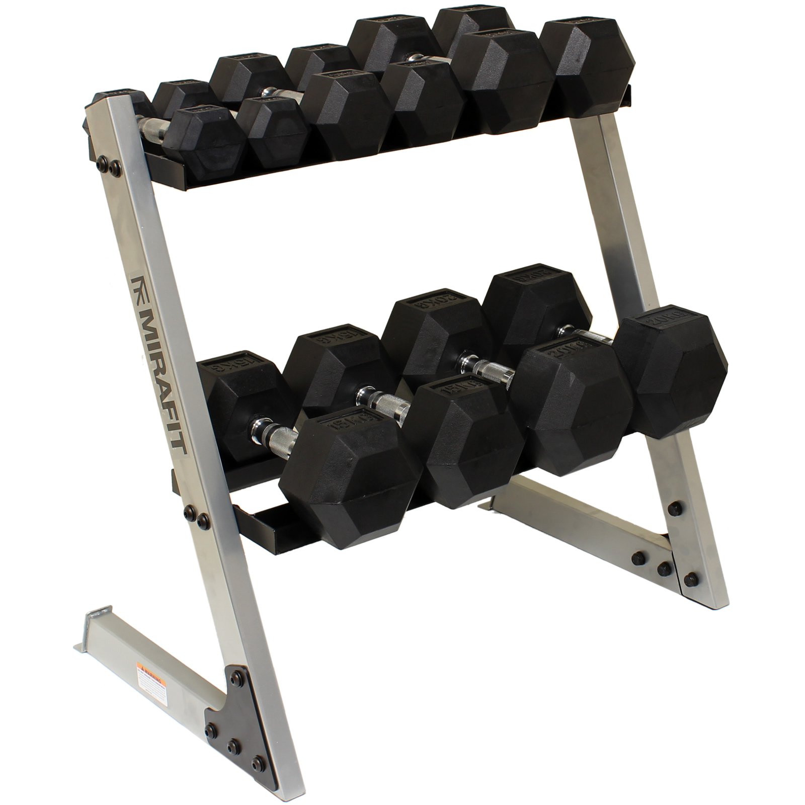 mirafit 150kg 26 2 tier hex dumbbell weight rack storage. Black Bedroom Furniture Sets. Home Design Ideas