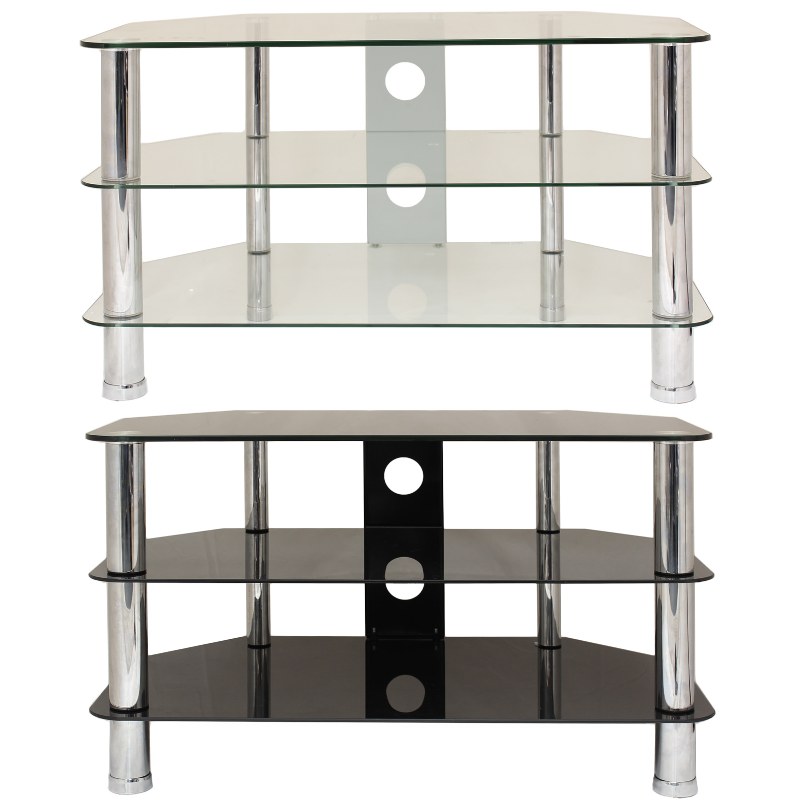 3 tier glass corner tv stand shelf led lcd plasma. Black Bedroom Furniture Sets. Home Design Ideas
