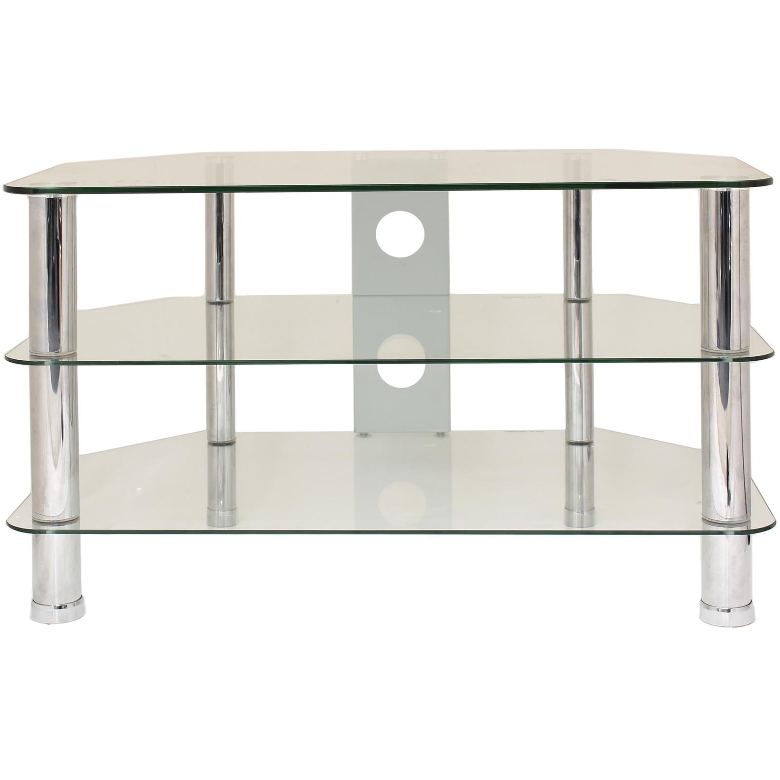 3 tier glass corner tv stand shelf led lcd plasma. Black Bedroom Furniture Sets. Home Design Ideas