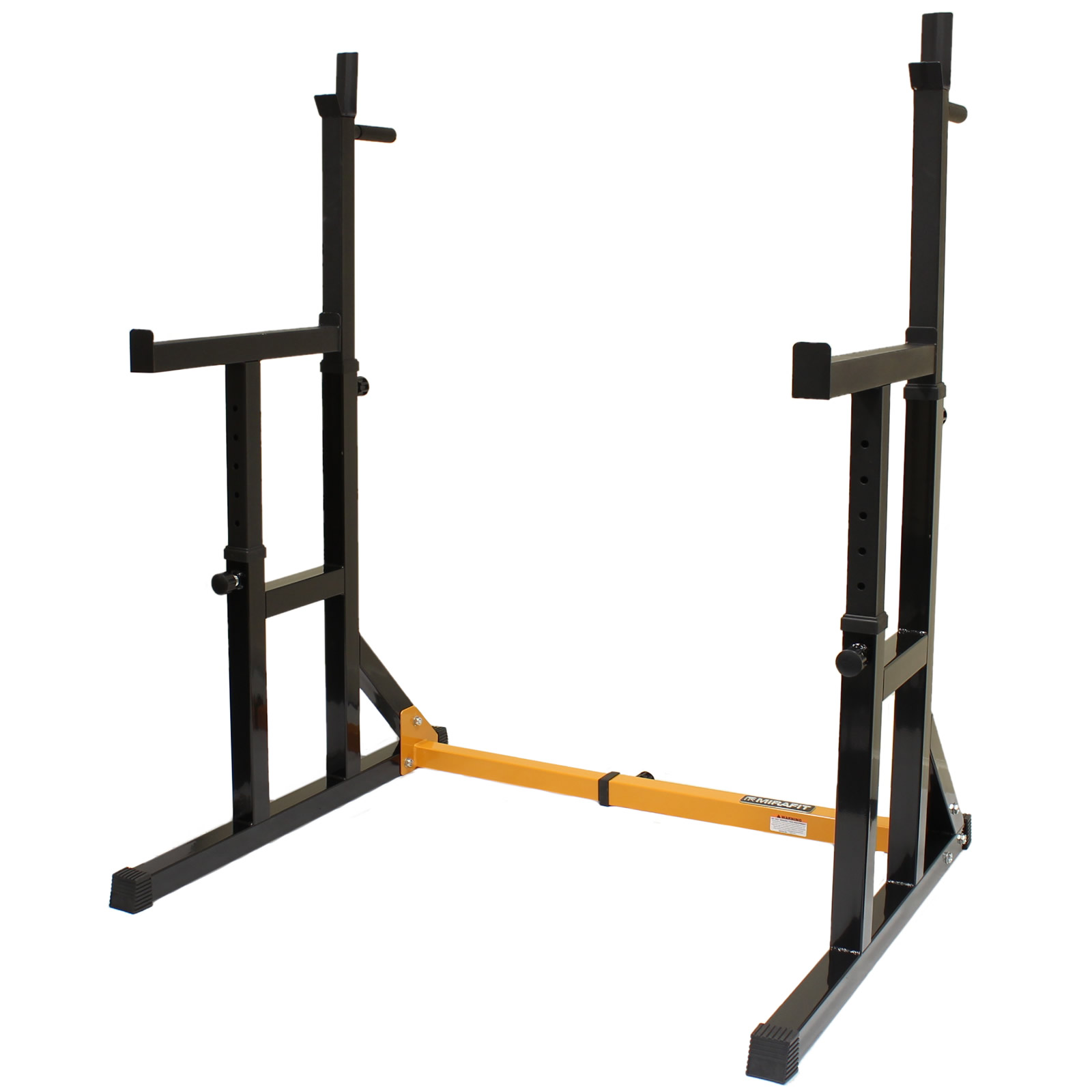 mirafit adjustable squat rack dip stand barbell weight gym bench power lifting