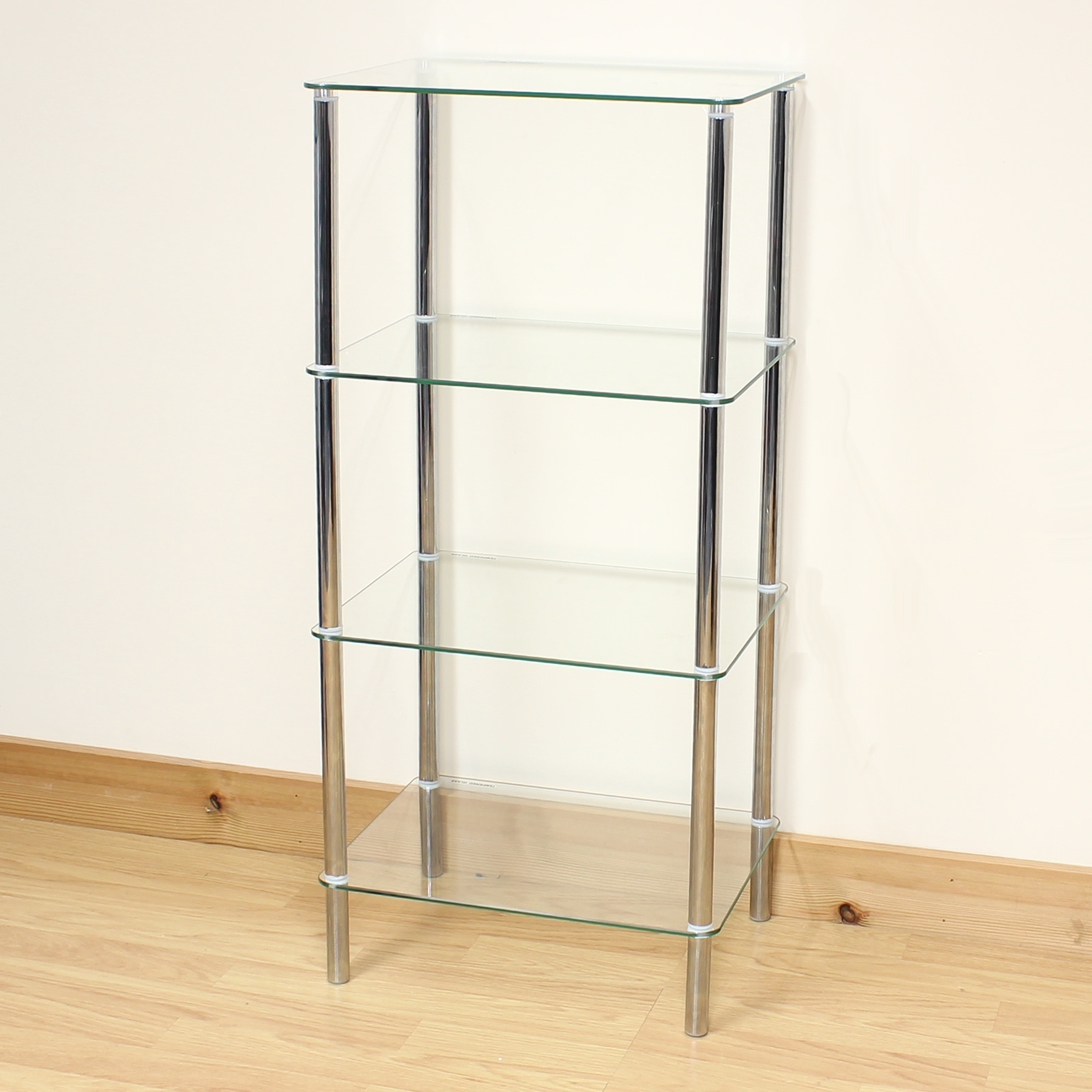 Hartleys Clear Glass 4 Tier Side Lamp Coffee Lounge Living Room Table Shelf Unit Ebay