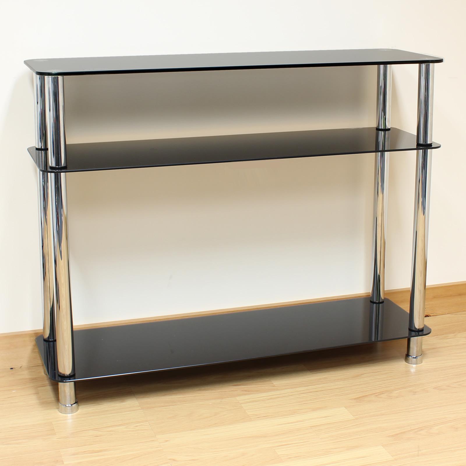 Hartleys 3 Tier Black Glass Side/Console Table Shelf Unit