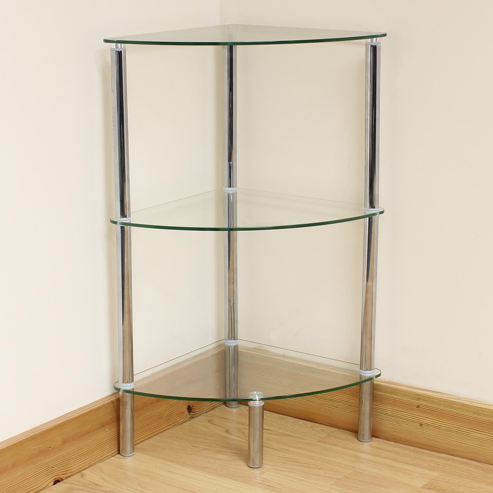 Hartleys 3 Tier Clear Glass Corner Side End Table Shelf
