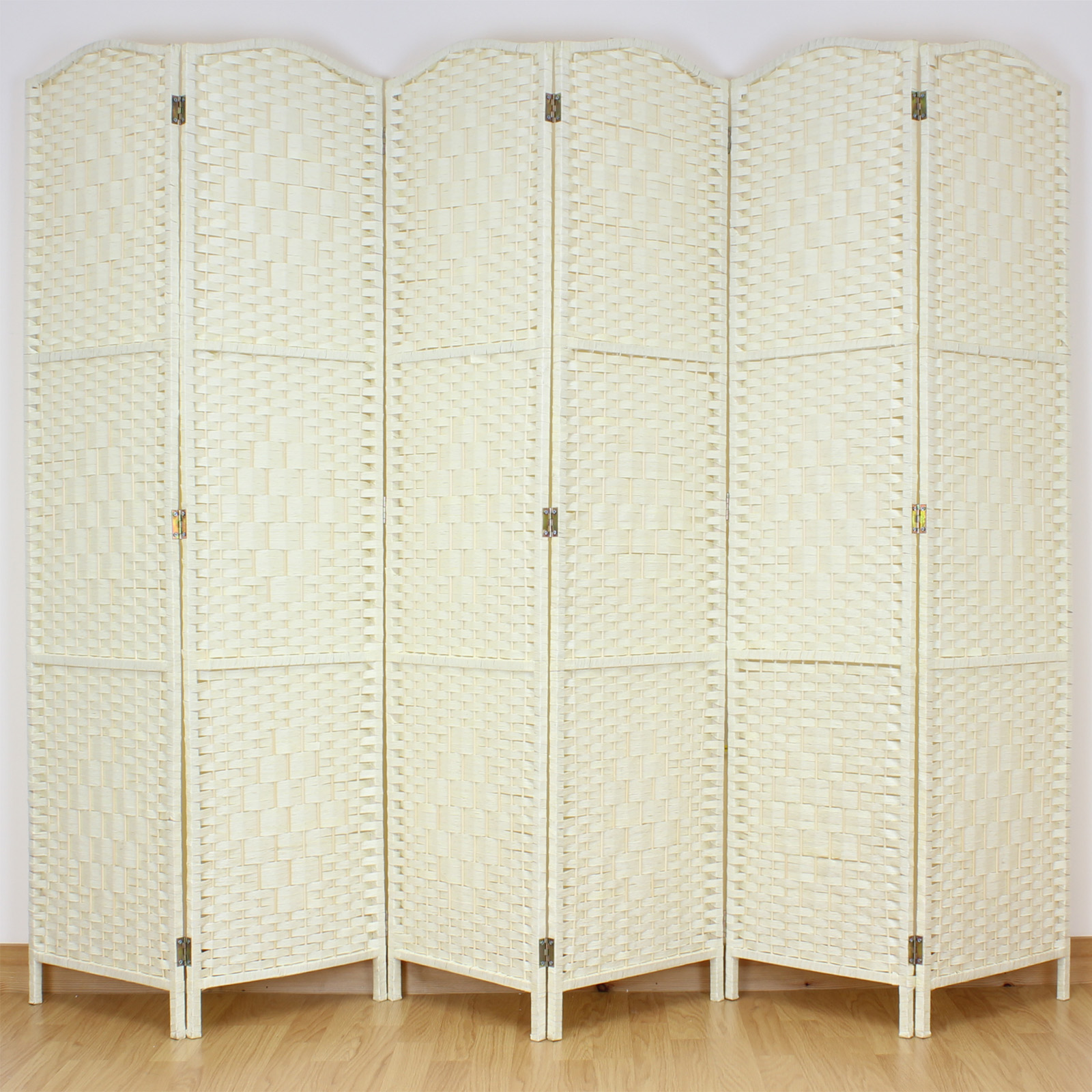 light cream 6 panel solid weave wicker room divider hand made privacy screen ebay. Black Bedroom Furniture Sets. Home Design Ideas