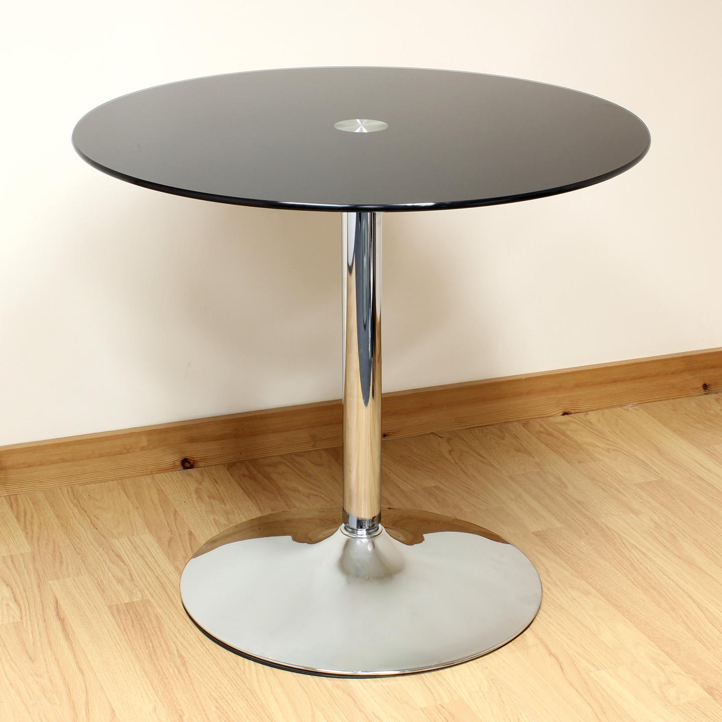 Hartleys 80cm black chrome round glass dining kitchen for Round glass and chrome dining table