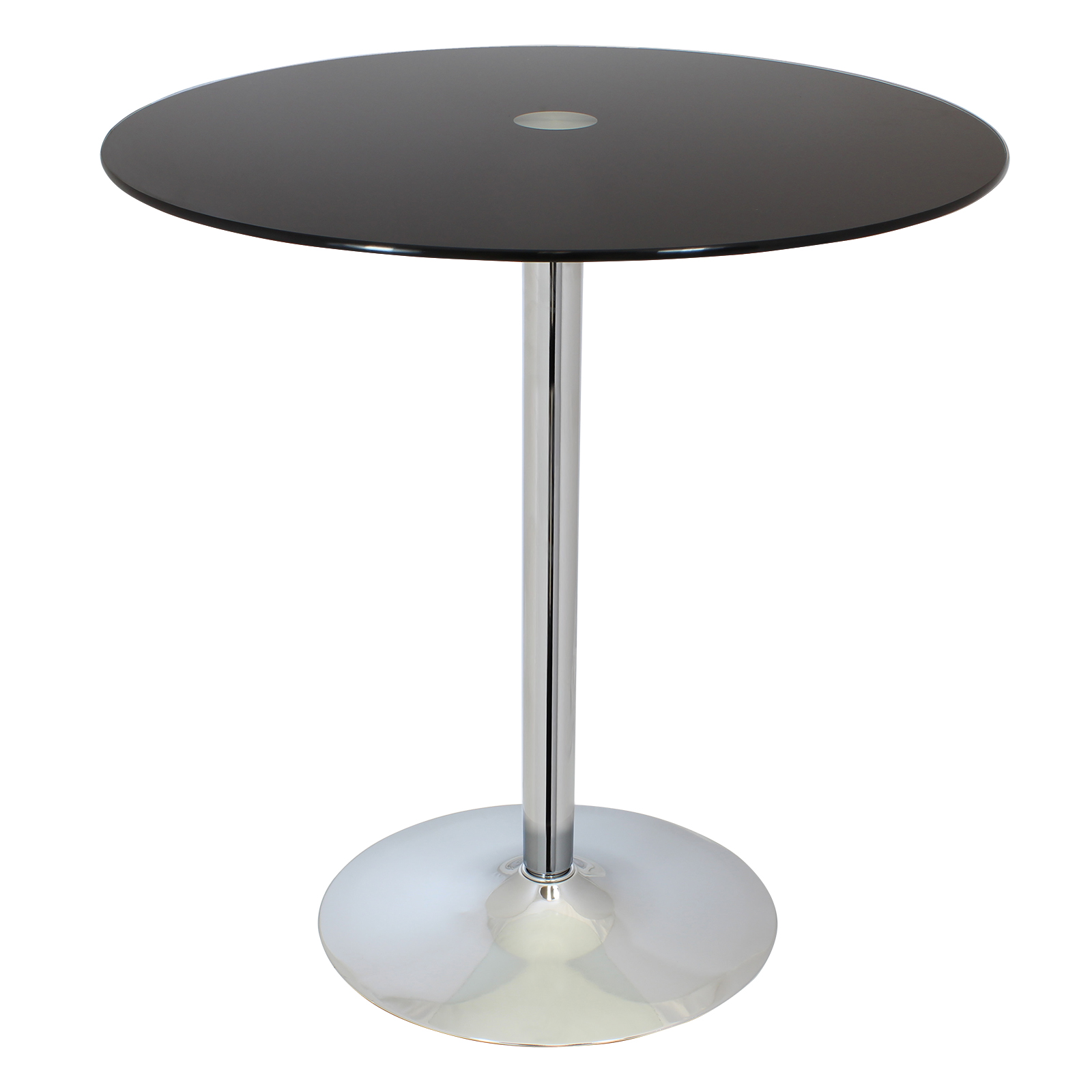 Sale round black glass top bistro dining table bar cafe - Black glass top dining table ...
