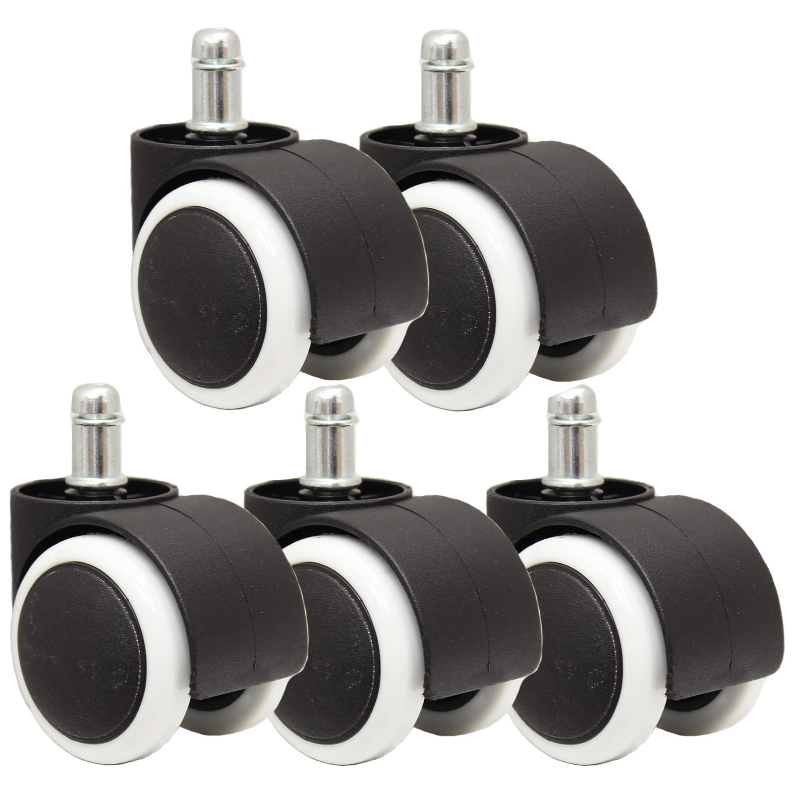 5 soft rubber non marking castor wheels computer office chair caster 50mm 11mm ebay. Black Bedroom Furniture Sets. Home Design Ideas