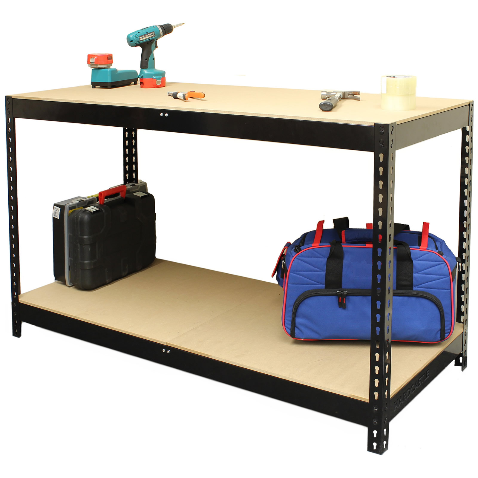 Hardcastle Black Steel Garage Warehouse Workbench Table