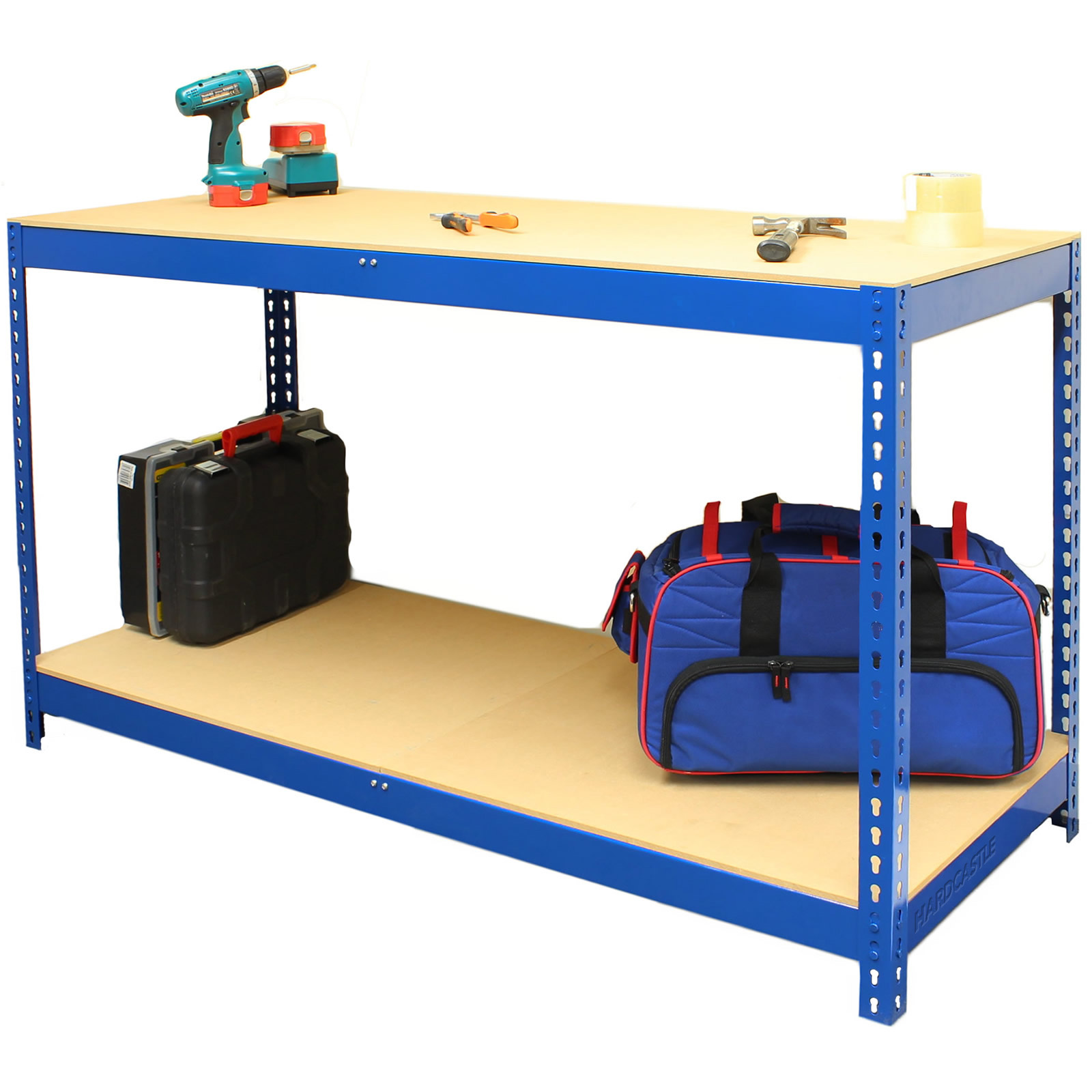 Hardcastle Blue Steel Garage Warehouse Workbench Table