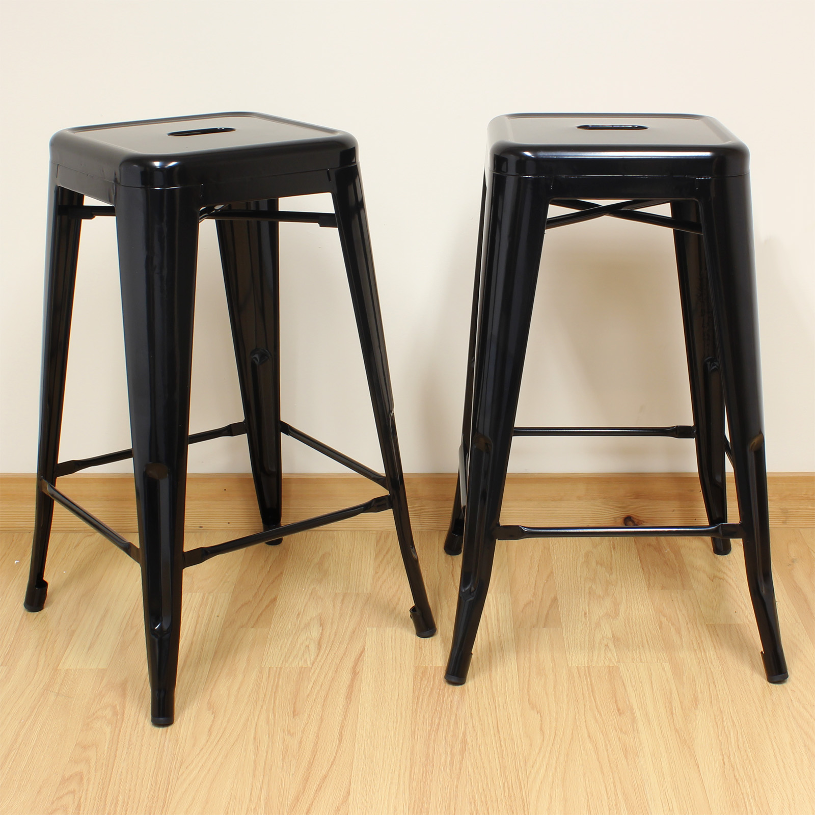 hartleys black metal 66cm stools industrial breakfast bar cafe bistr o