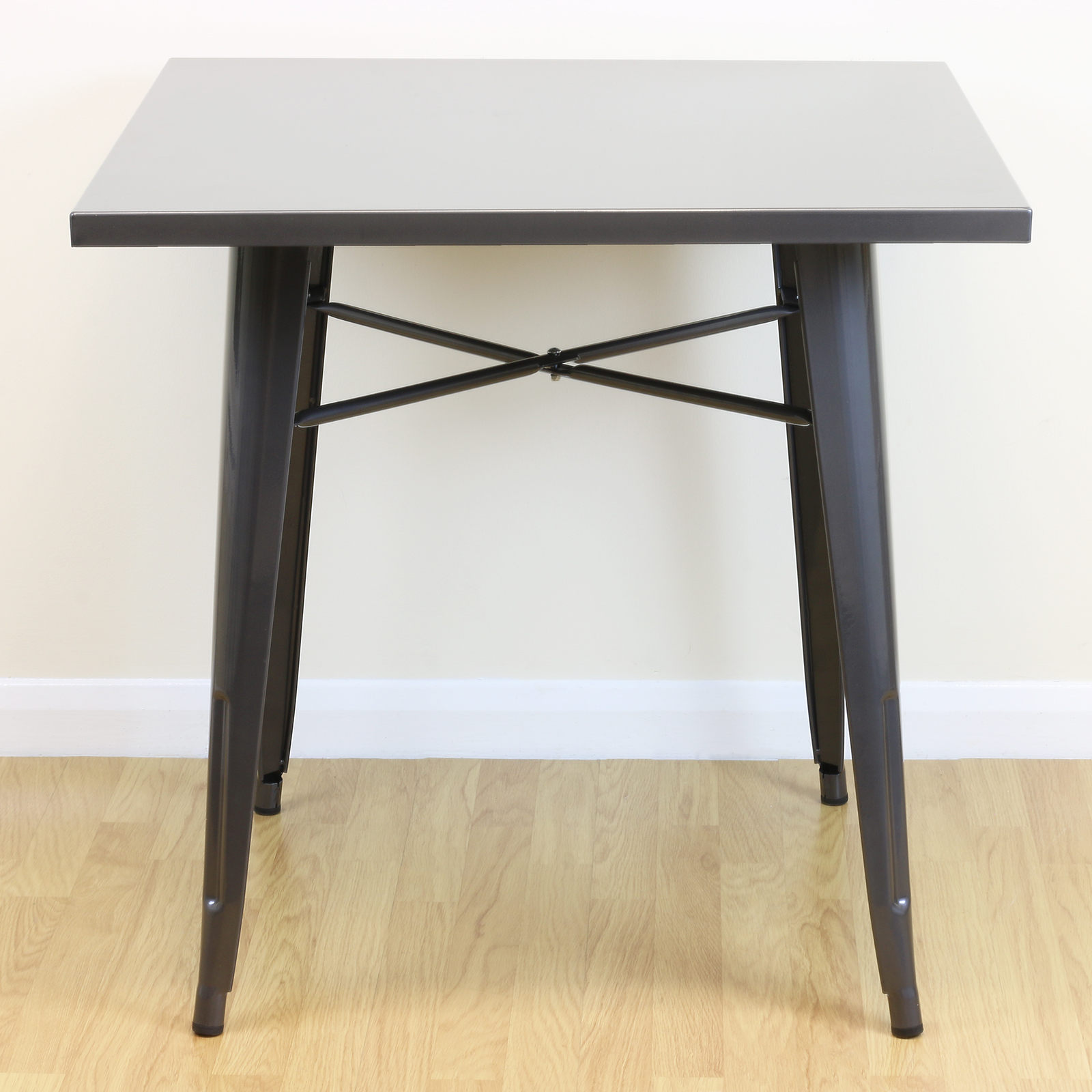Square gunmetal kitchen dining cafe metal table 2 4 seater for Square industrial dining table
