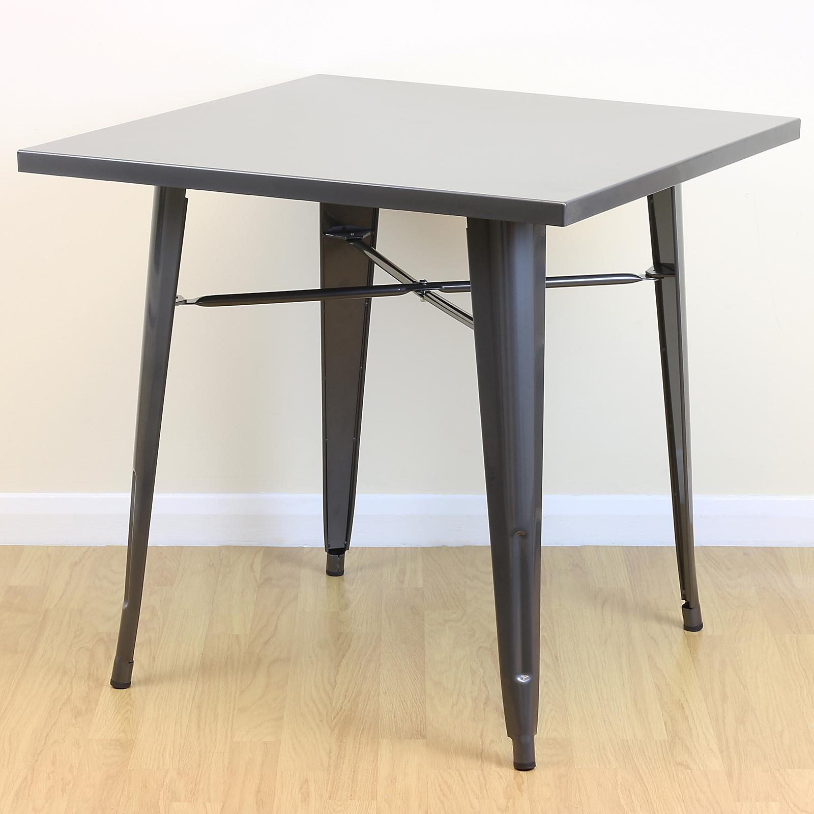 square gunmetal kitchen/dining/cafe metal table 2/4 seater