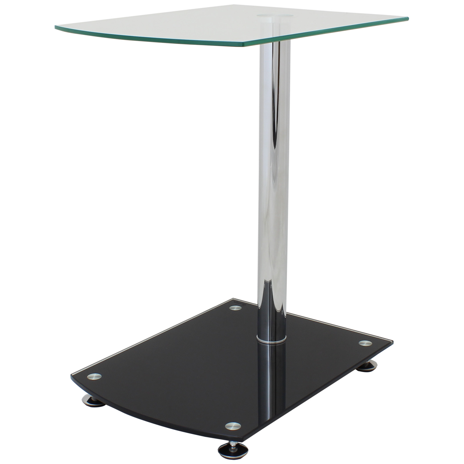 HARTLEYS CLEAR/BLACK GLASS SIDE/END TABLE LOUNGE/BEDROOM