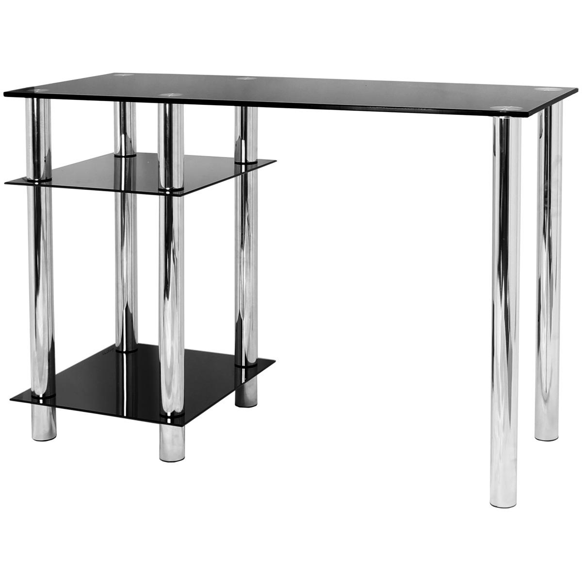 HARTLEYS BLACK GLASS COMPUTER DESK & BASE UNIT SHELF OFFICE TABLE PC