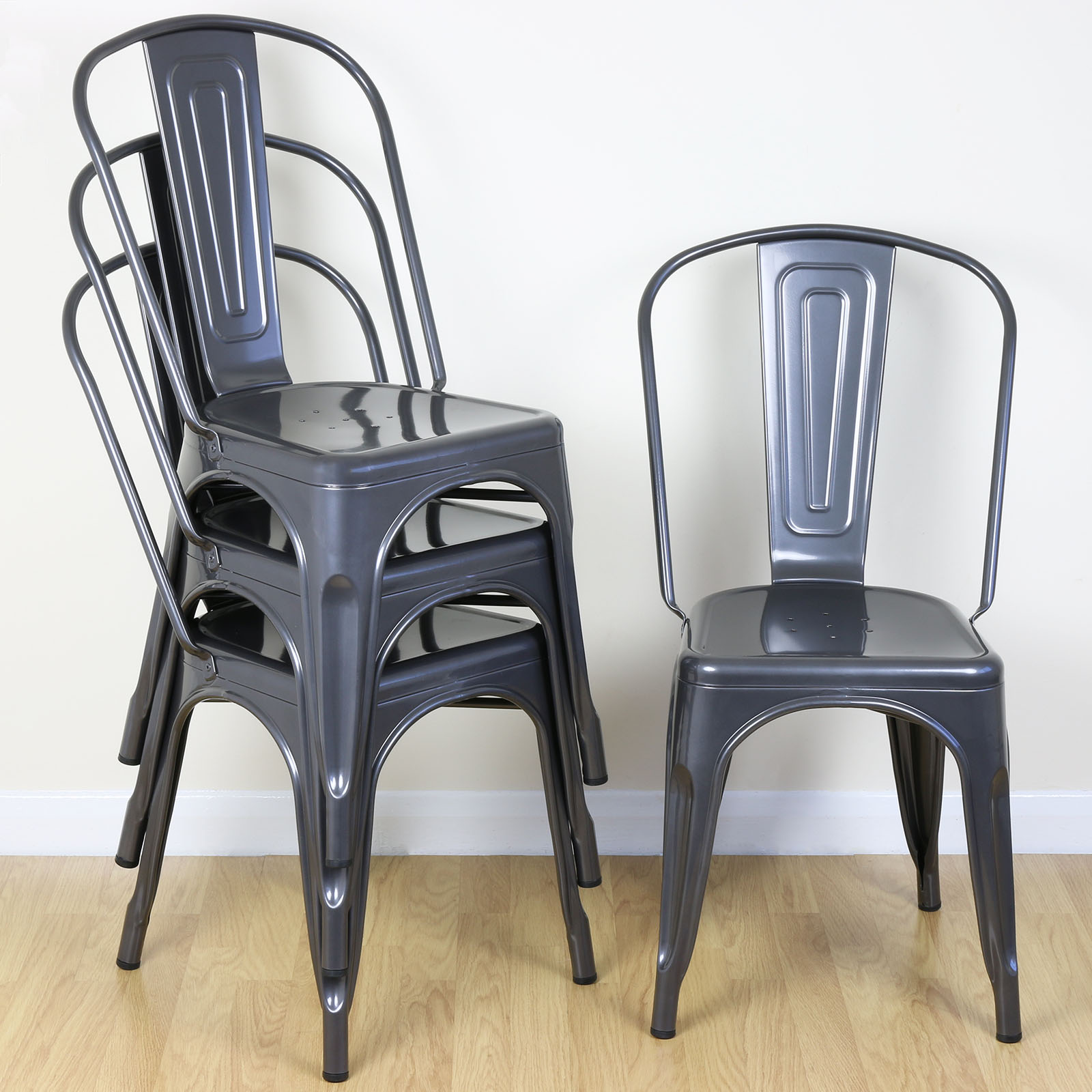 Metal Kitchen Chairs: Set Of 4 Gunmetal Metal Industrial Dining Chair Kitchen