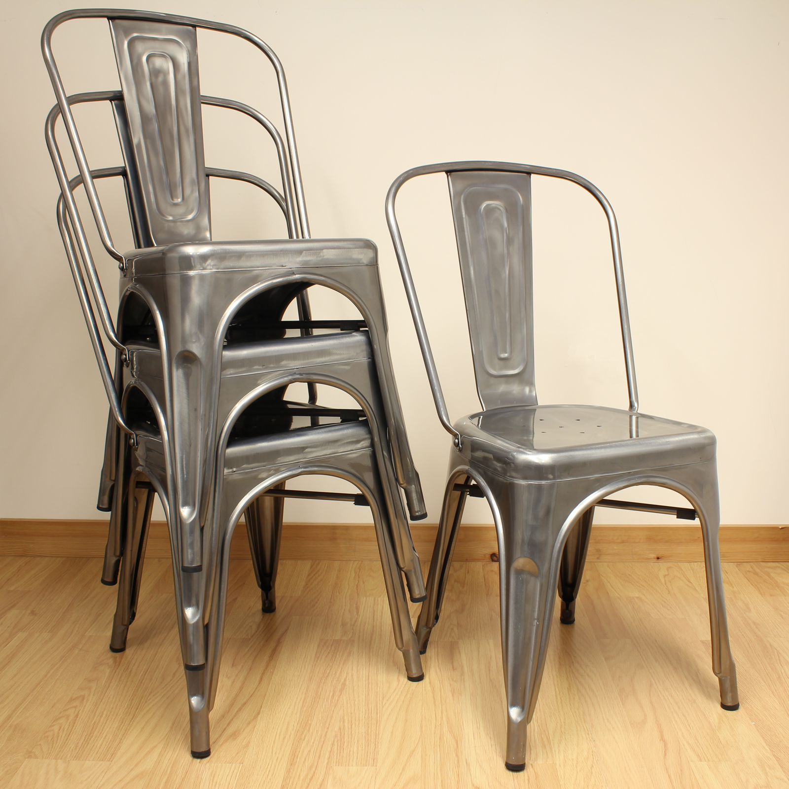 Set of 4 gunmetal metal industrial dining chair kitchen for Kitchen set industrial